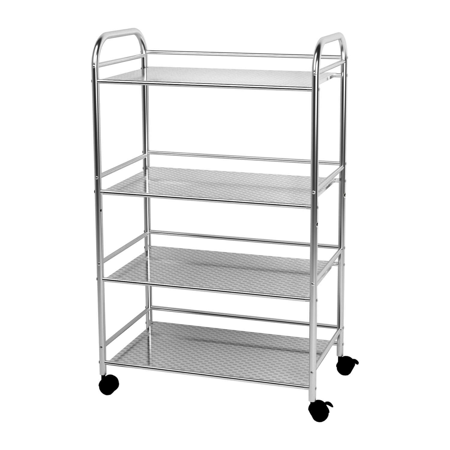 Ykease 4-shelf Shelving Units On Wheels Stainless Steel Kitchen Cart  Microwave Stand - Bathroom Garage Storage Shelves 24 Inches Wide