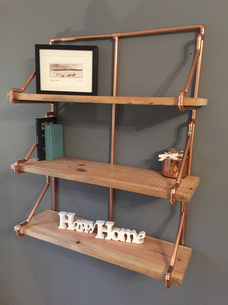 3 Tier Copper Pipe Shelving Unit In An Industrial Style With Pine Shelves
