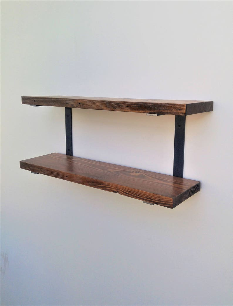Double Wall Mounted Shelf Brackets - Holds Two Shelves - Raw C Shaped Steel  Bracket With Hardware And Instructions