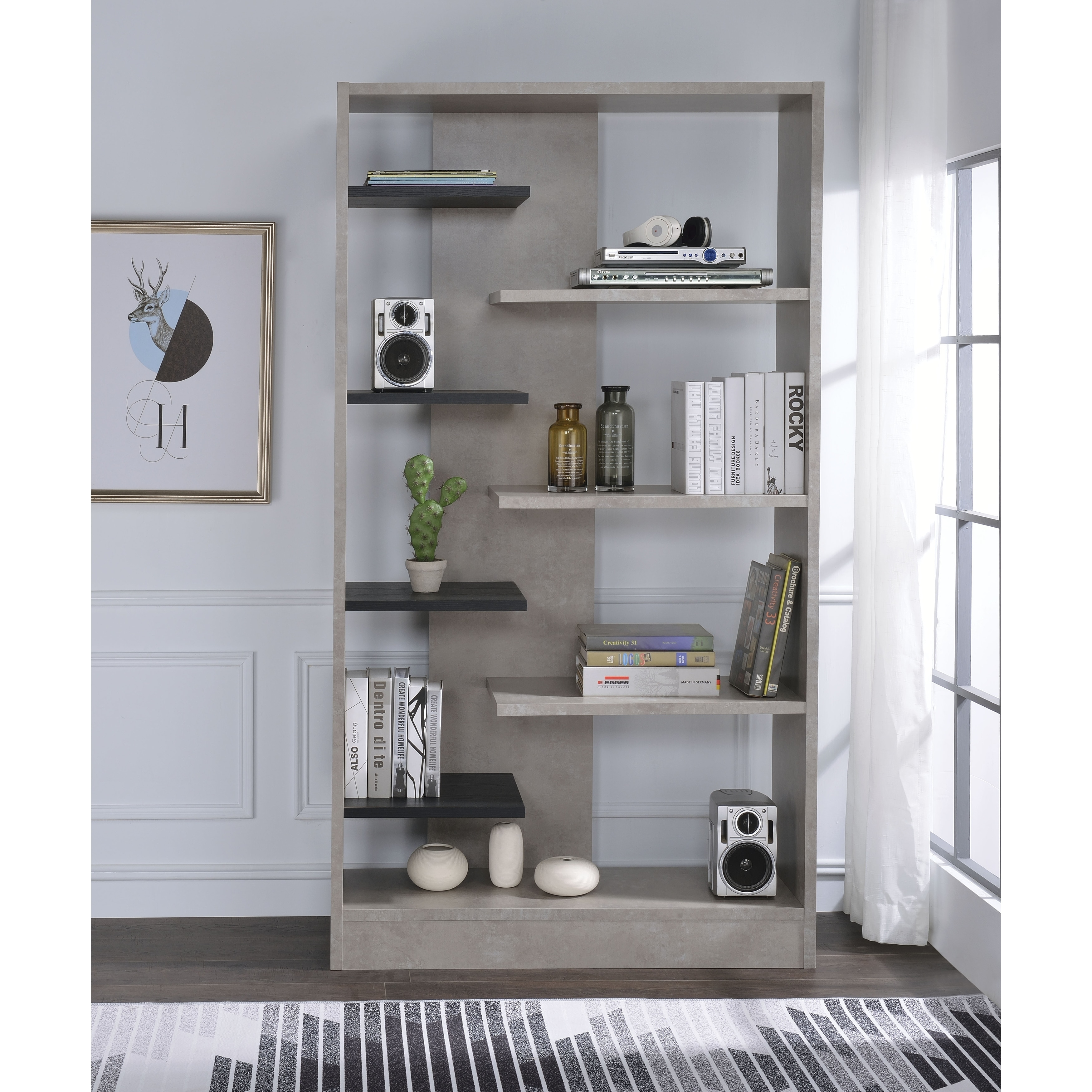 Faux Concrete Wooden Bookcase With Open Shelves, Gray And Black