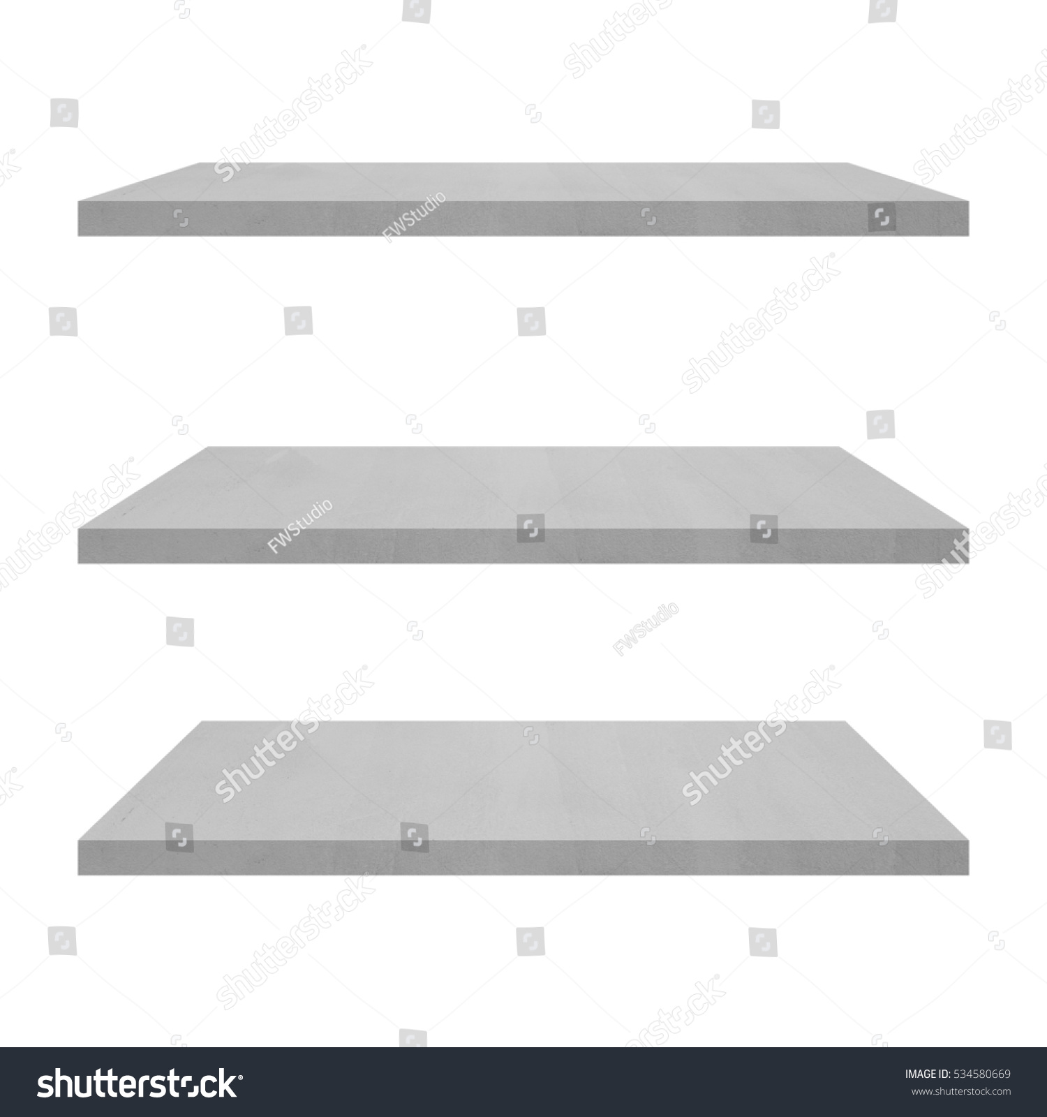 3 Concrete Shelves Table Isolated On Stock Photo (edit Now