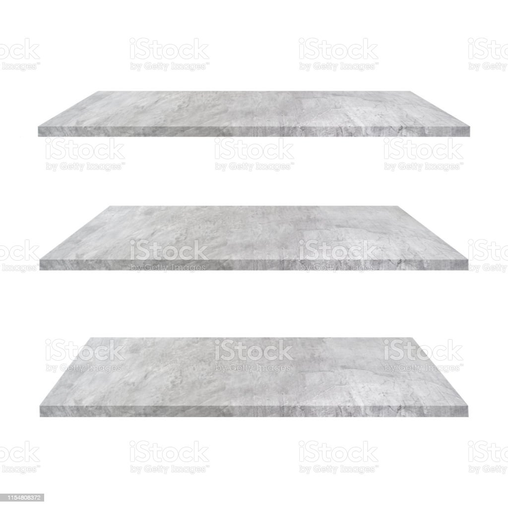 3 Concrete Shelves Table Isolated On White Background And Display