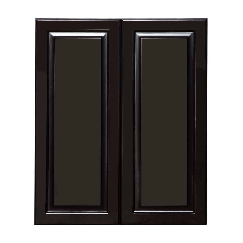 Lifeart Cabinetry La Newport Ready To Assemble 36x36x12 In 1-door Wall  Cabinet With 2-shelves In Dark Brown