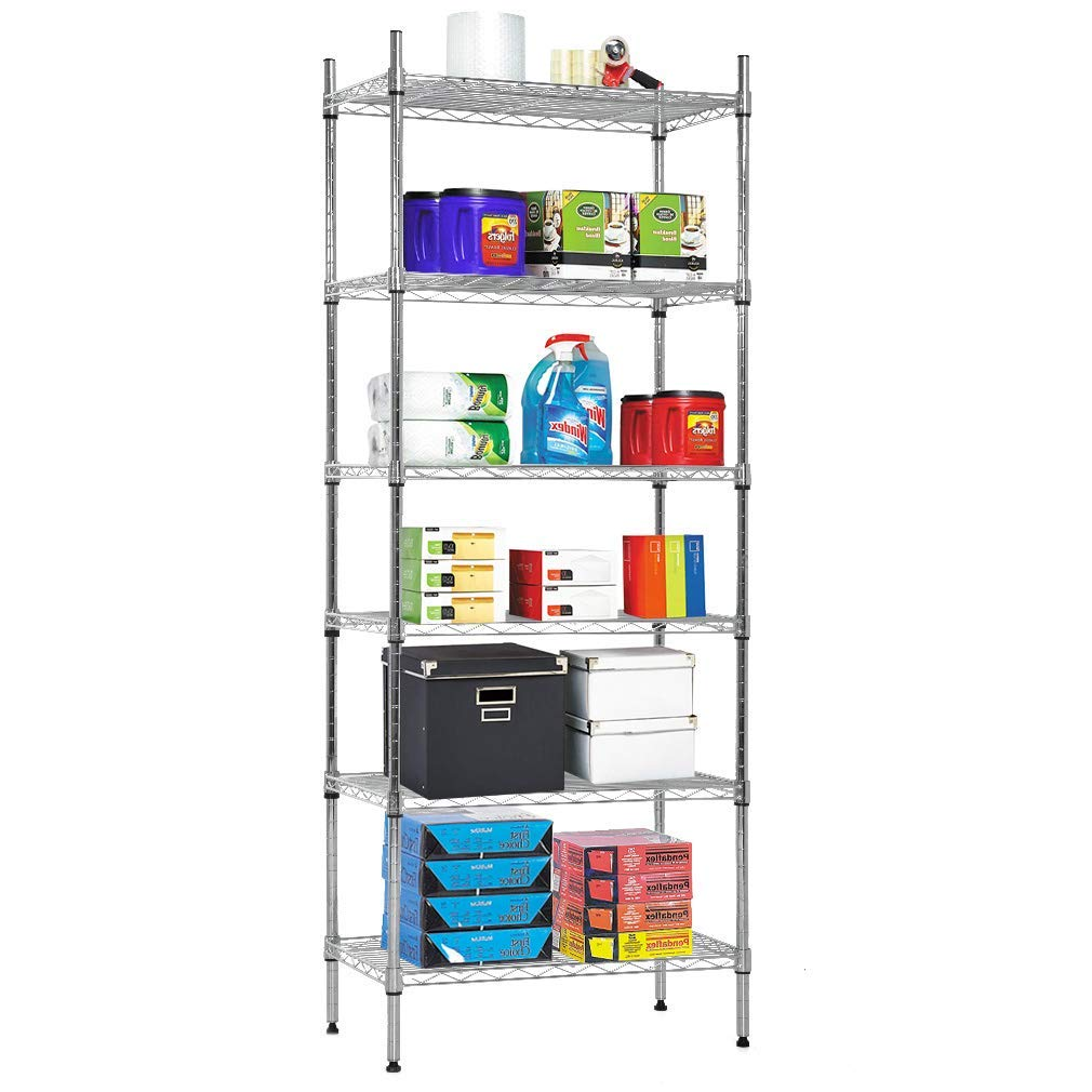 Nsf Wire Shelf Organizer 6 Wire Shelving Unit Metal Storage Shelves,  Utility Commercial Grade Heavy Duty Height Adjustable Leveling Feet Steel  Layer