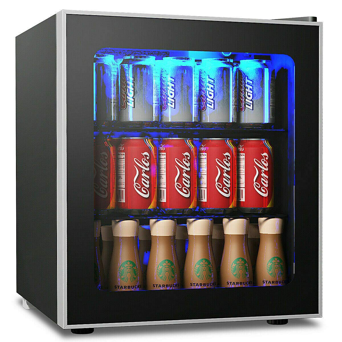 Costway Beverage Refrigerator And Cooler, 60 Can Mini Fridge, Adjustable  Removable Shelves, Perfect For Soda Beer Or Wine Small Drink Dispenser