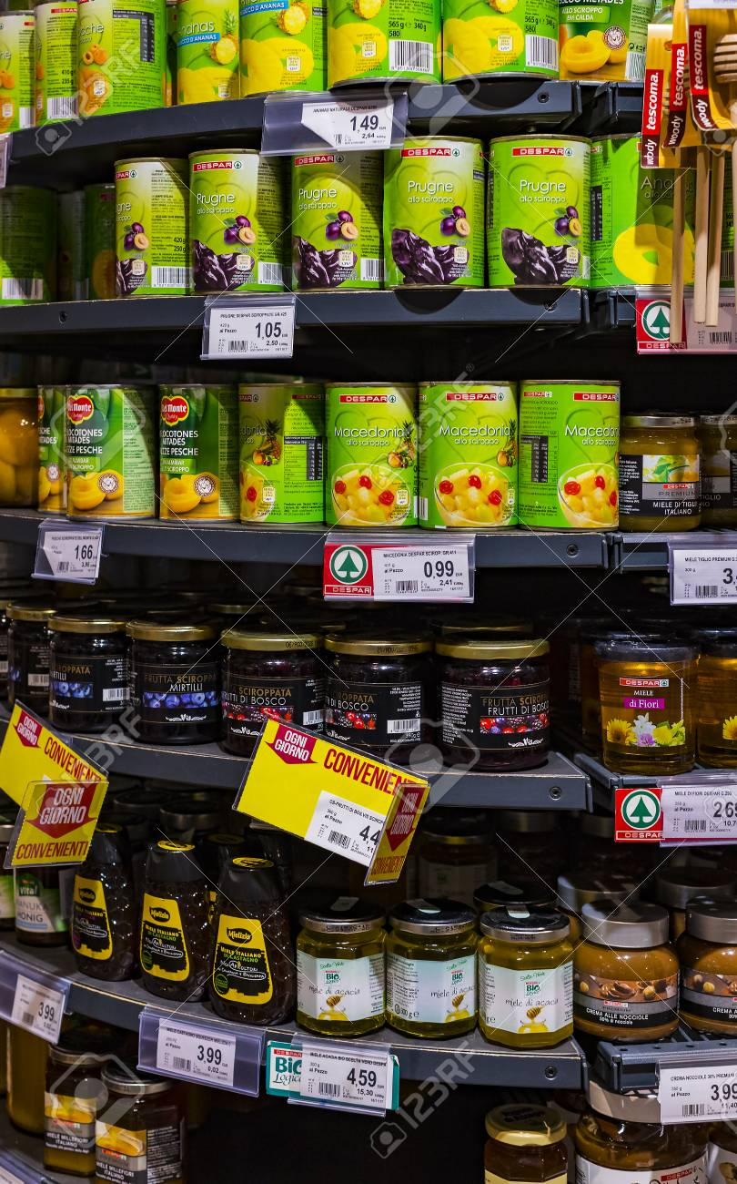 Verona, Italy - 4 September 2018: Shelves And Shelving With Products Of  Drinks And Goods In The Supermarket Spar