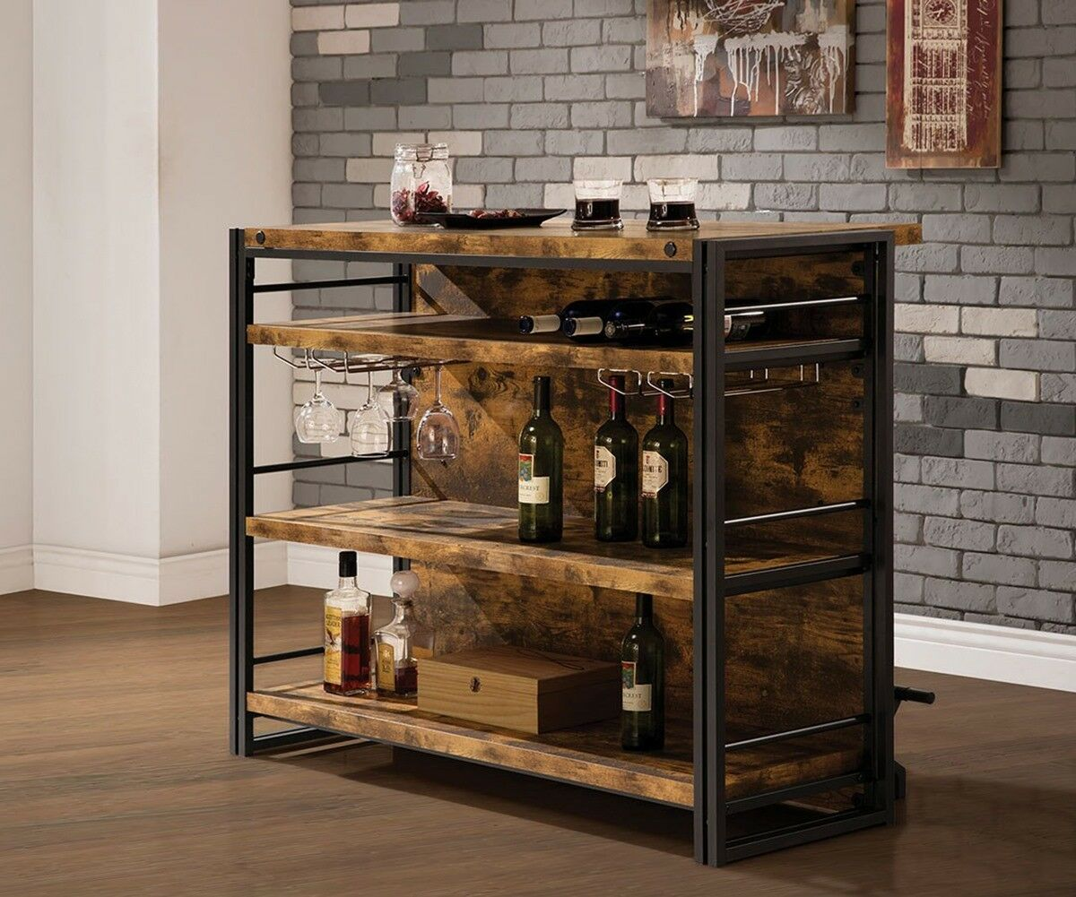 Details About Free Standing Bar Home Pub Wine Whiskey Drinks With 3 Shelves  & Stemware Rack