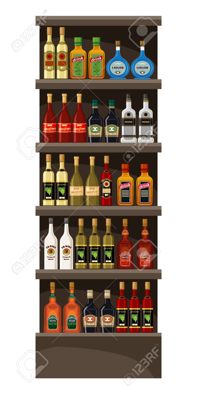 Shelves With Alcohol Drinks Vector Illustration