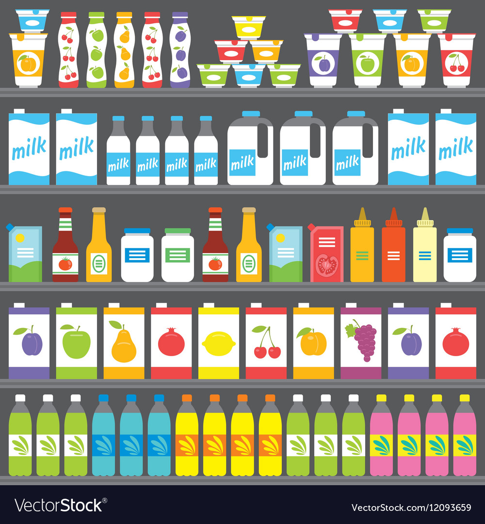 Shelves With Products And Drinks