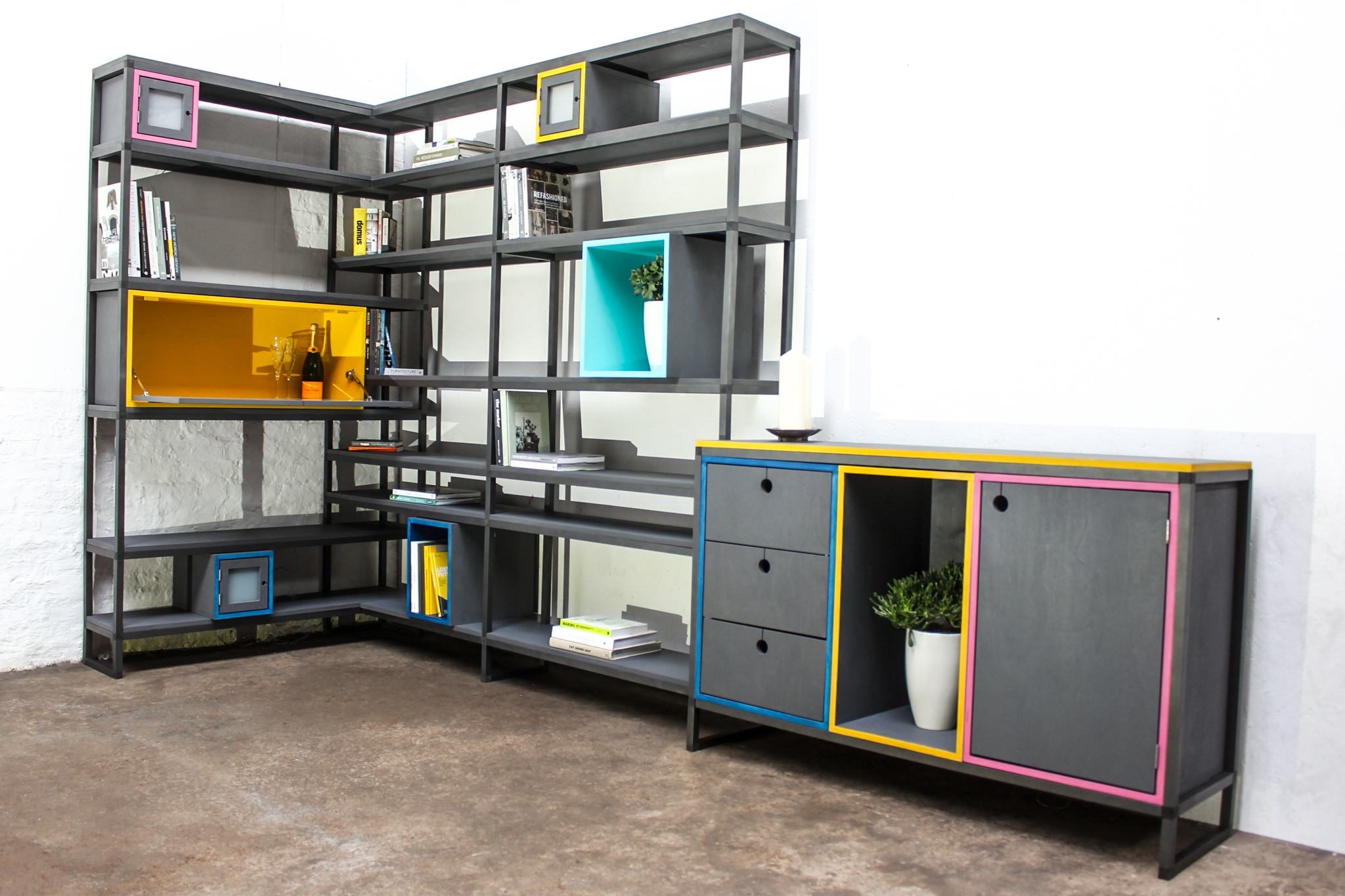 Rhys Bespoke Birch Ply And Aluminium Box Section Colourful Shelves And  Storage With Drinks Cabinet
