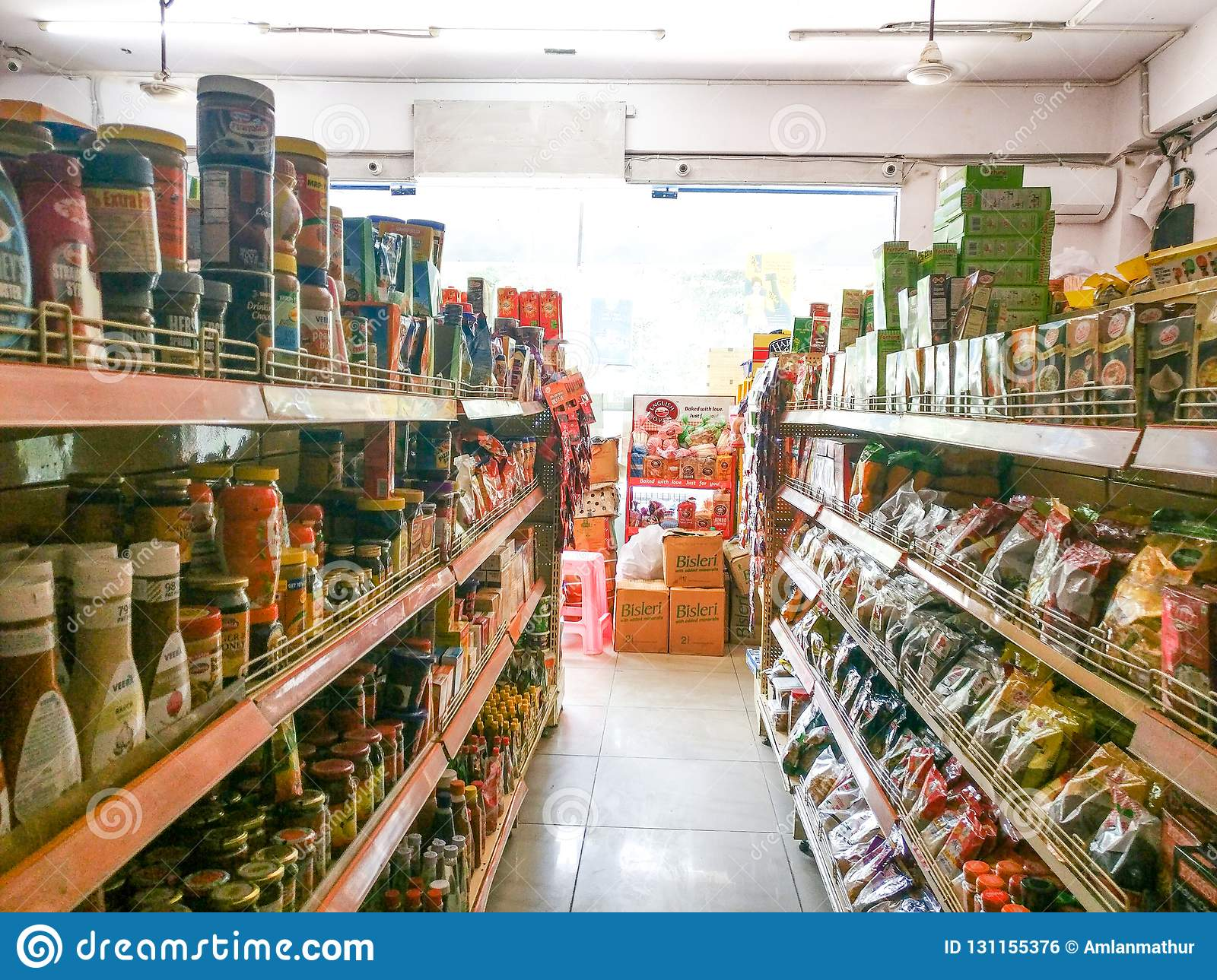 Supermarket Shelves Filled With Fmcg Grocery Products Editorial