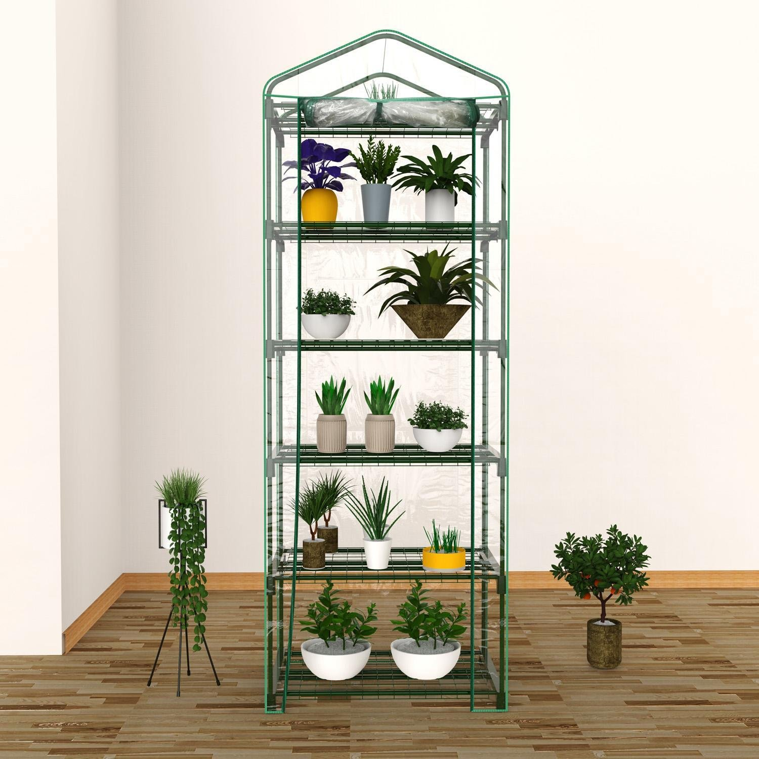 5-tier Mini Greenhouse, Small Portable Greenhouse Shelves With Clear