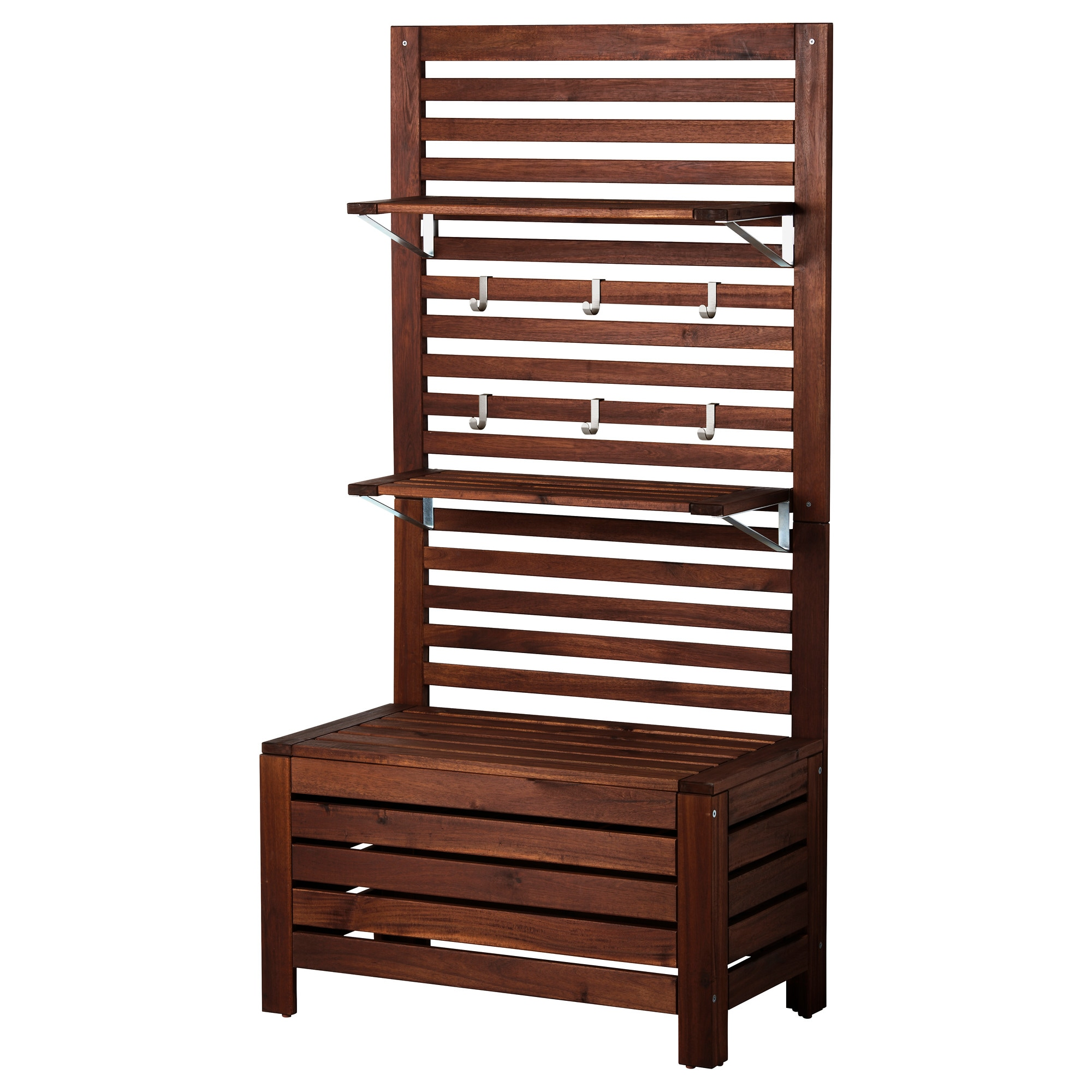 ã�pplarã� Bench W/panel And Shelves, Outdoor, Brown Stained Brown