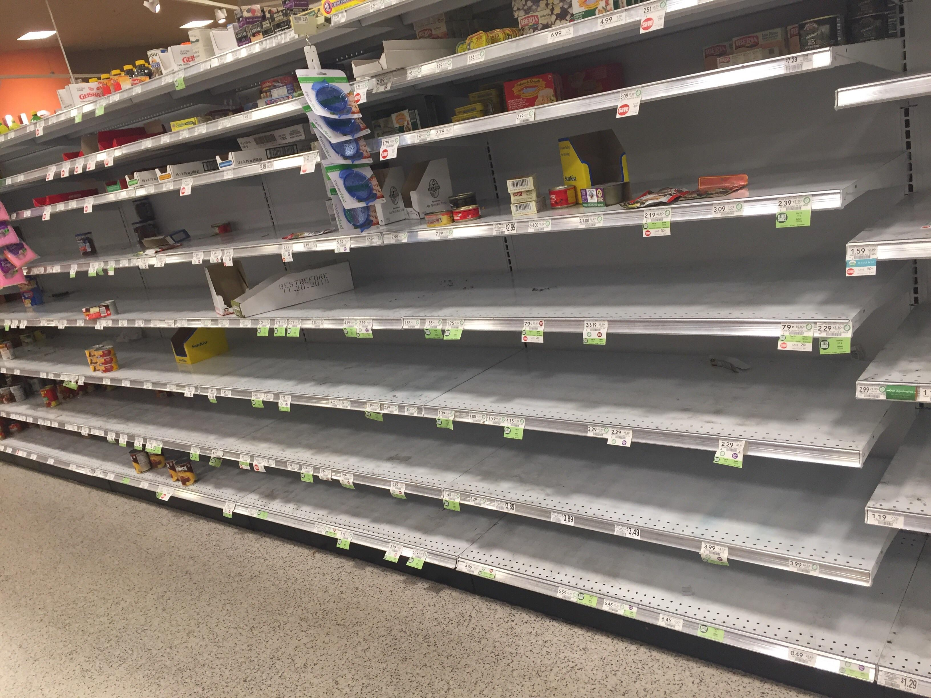 Everyone's Posting Empty Water Shelves, But This Was The Canned Meat