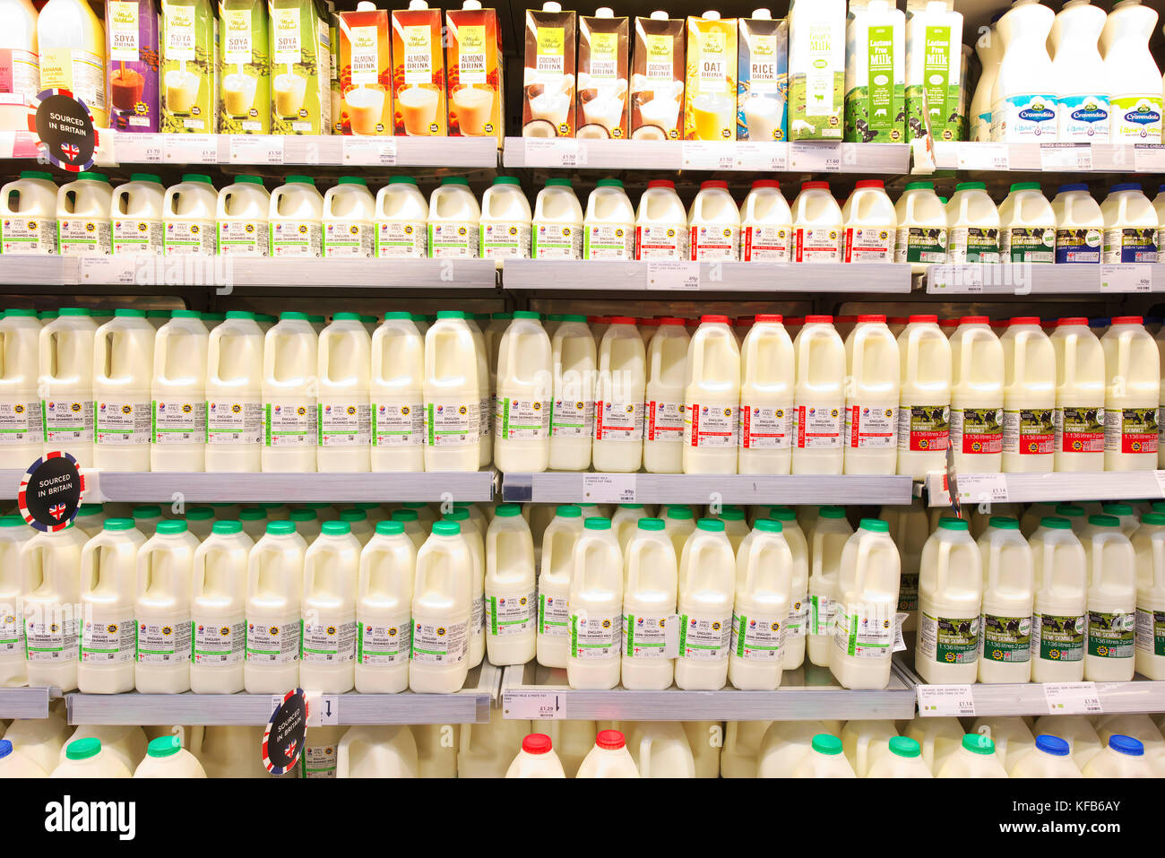 Fresh British Milk On The Shelves Of A Marks And Spencer Foodhall