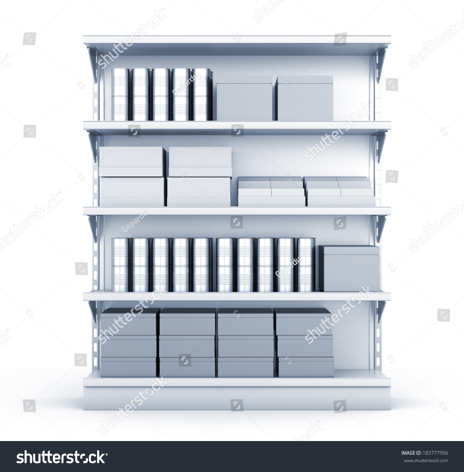 Blank Supermarket Products On Shelves View Stock Illustration