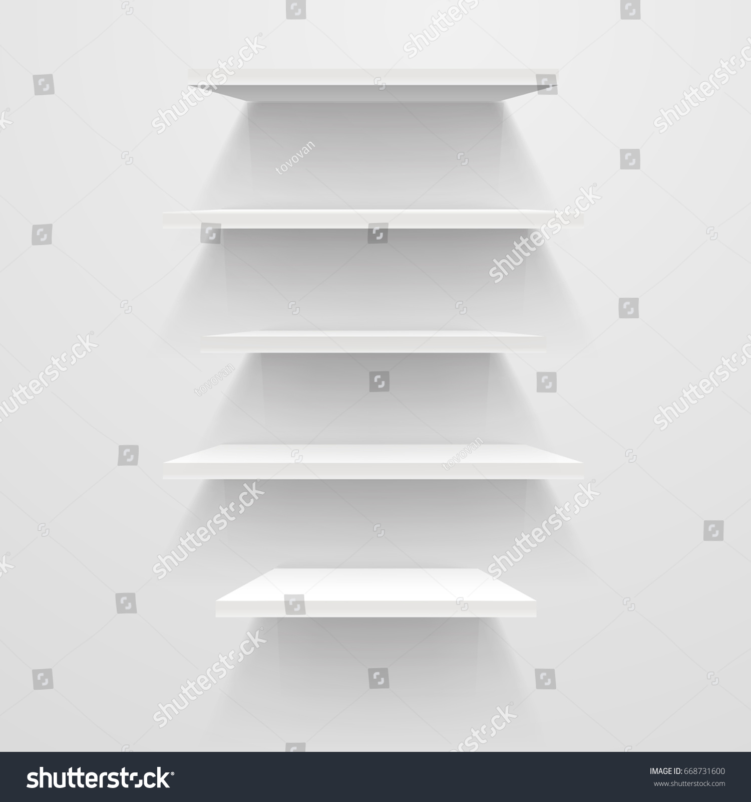 White Empty Shelves On White Wall Stock Vector (royalty Free
