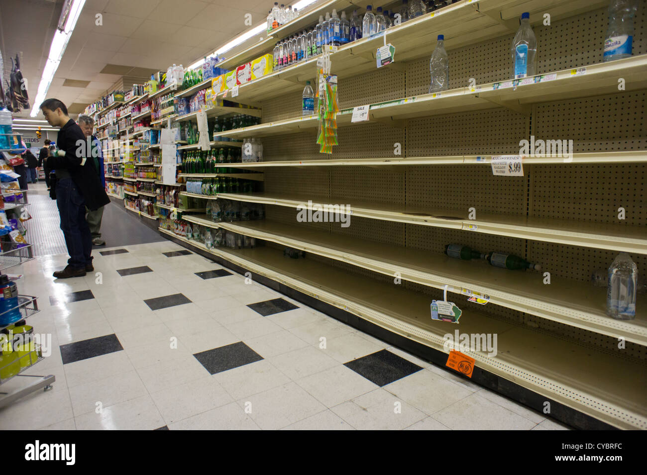 Bare Shelves Because Of Hurricane Sandy At A Supermarket In New York
