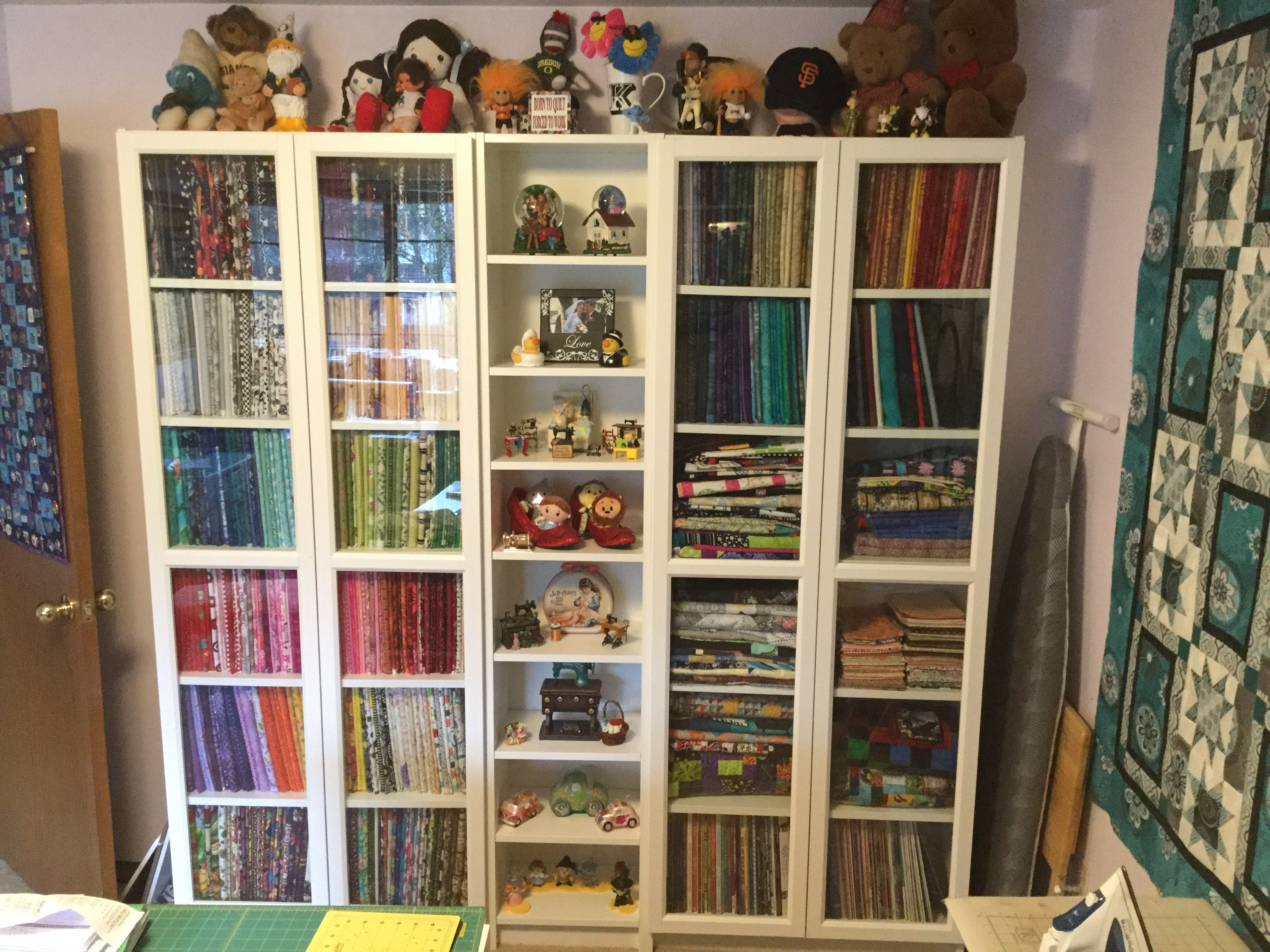Fabric Storage Using Ikea Billy Shelves And Comic Book Boards To