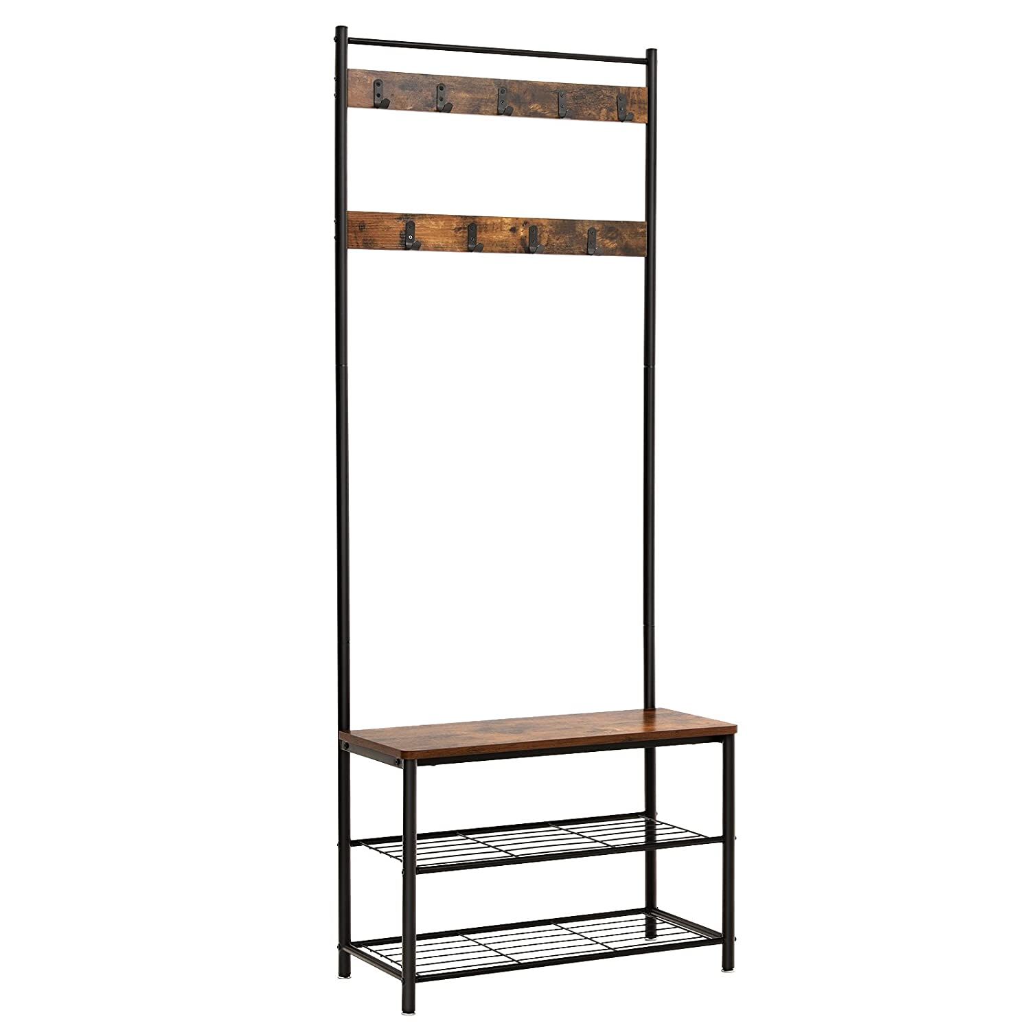 Vasagle Coat Rack Stand, Industrial Coat Tree, Hallway Shoe Rack And Bench  With Shelves, Hall Tree With Hooks, Matte Metal Frame, Height 175 Cm Rustic