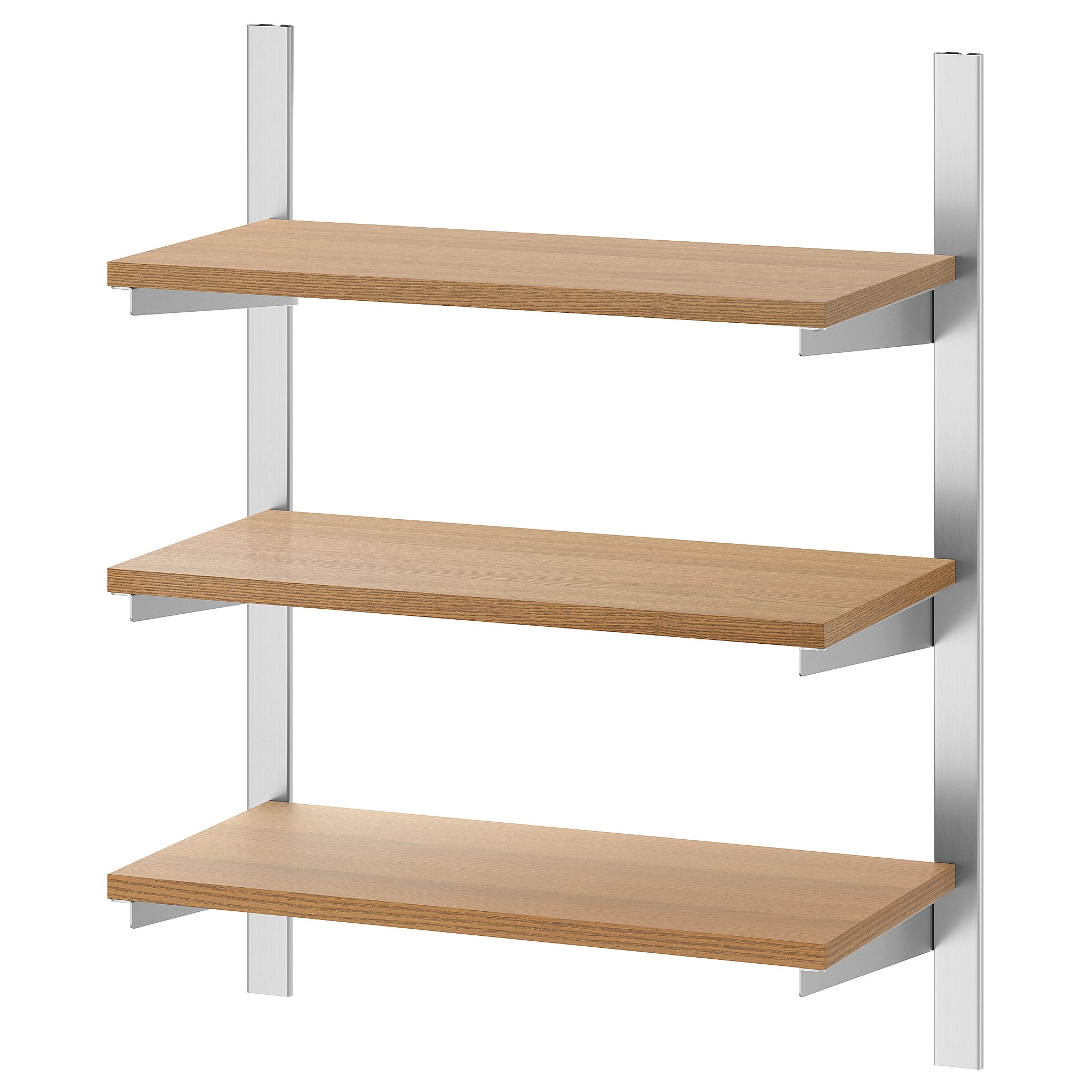 Suspension Rail With Shelves Kungsfors Stainless Steel, Ash