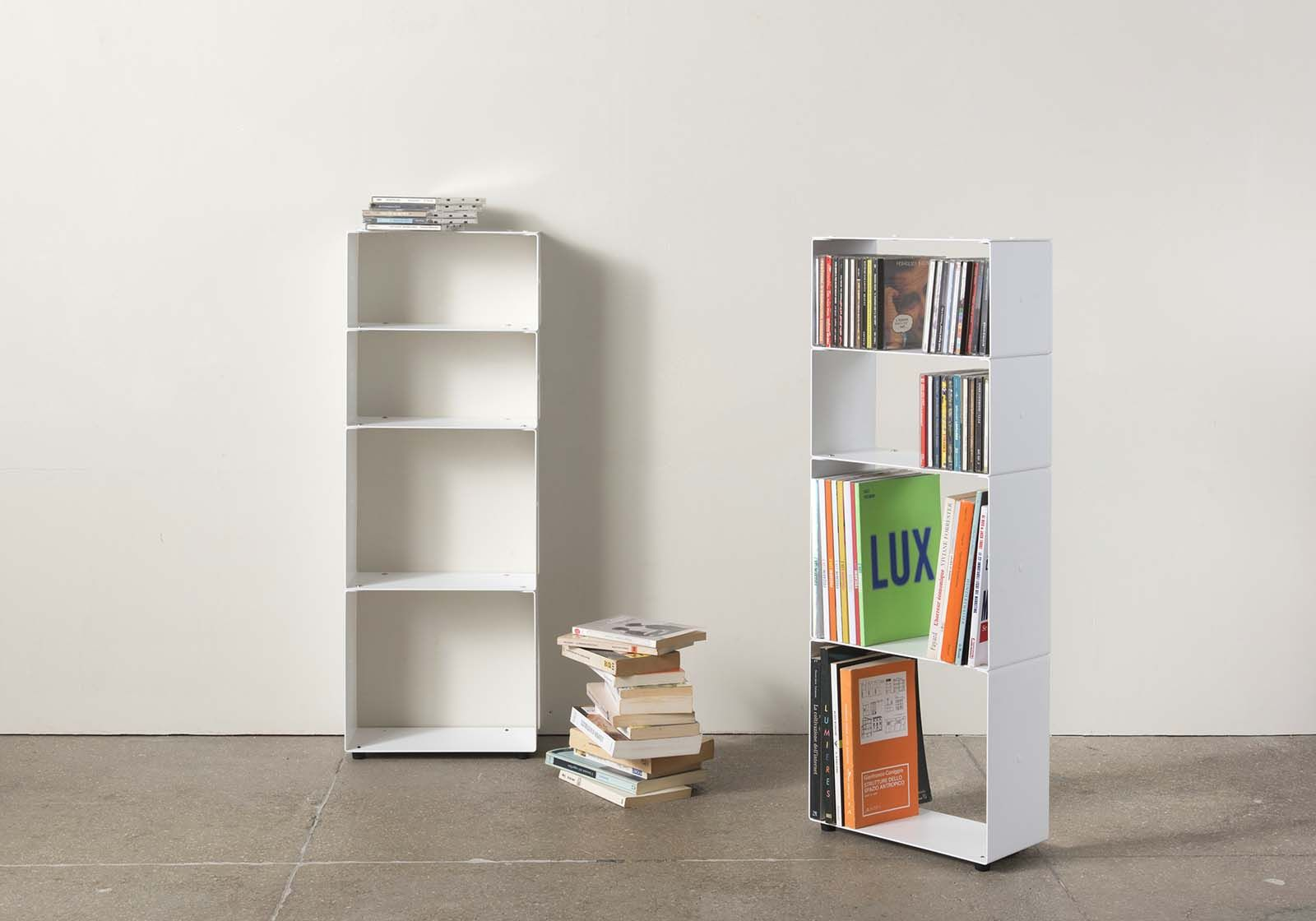 White Bookcase For Books And Cds W30 H80 D15 Cm - 4 Shelves