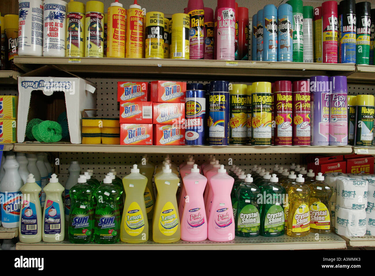 Miami Florida Overtown L & J Groceries Shelves Cleaning Products