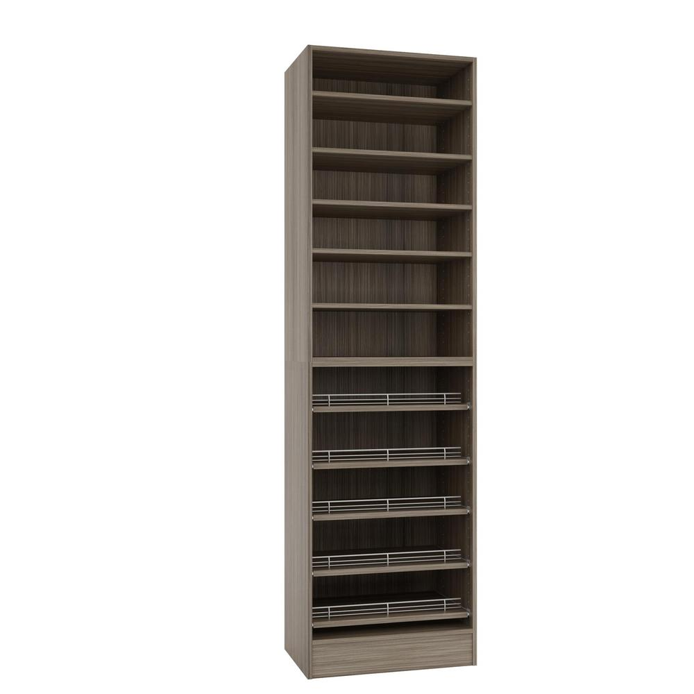 Home Decorators Collection 15 In D X 24 In W X 84 In H Platinum Melamine  With 11-shelves And Slide Outs Closet System Kit