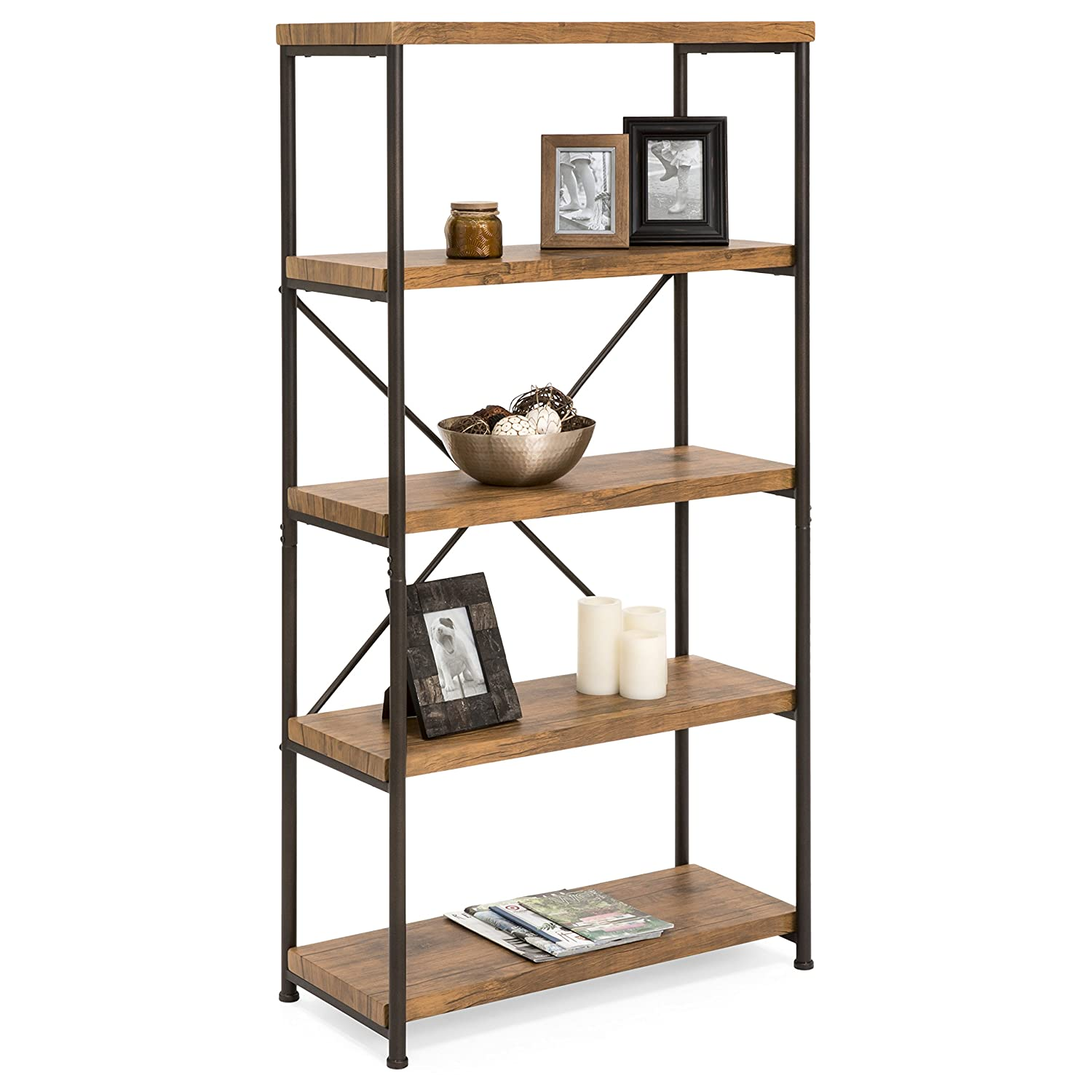Best Choice Products 4-tier Rustic Industrial Bookshelf Display Dã©cor  Accent For Living Room, Bedroom, Office With Metal Frame, Wood Shelves,  Brown