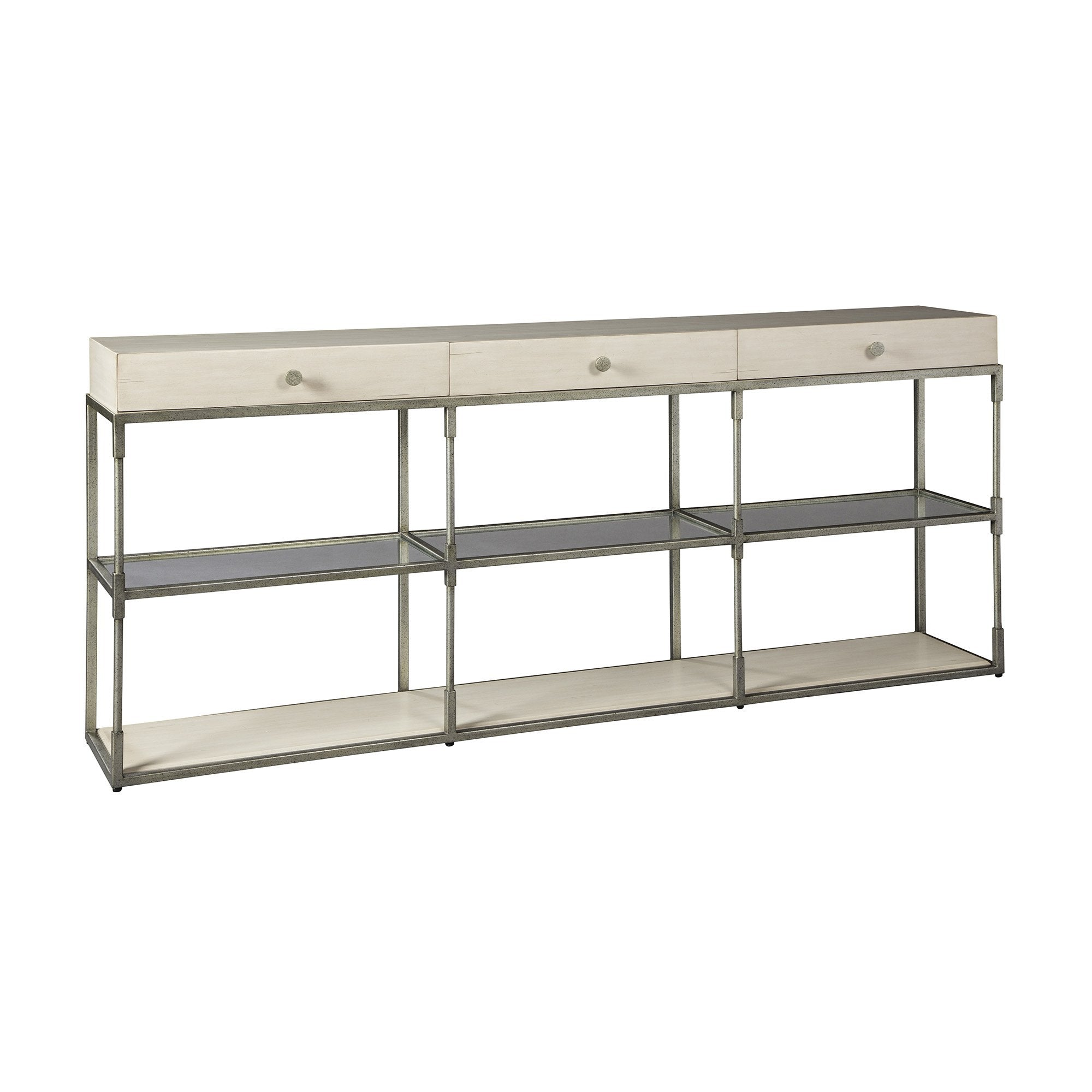 Triple Drawer Console Table With Metal Base, Glass Shelves