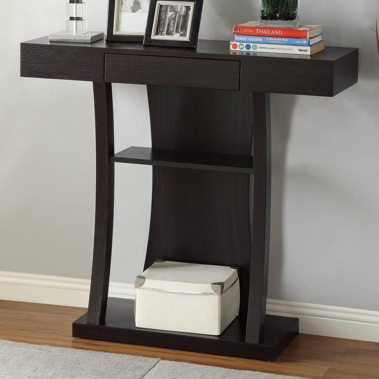 T-shaped Console Table W/2 Shelves