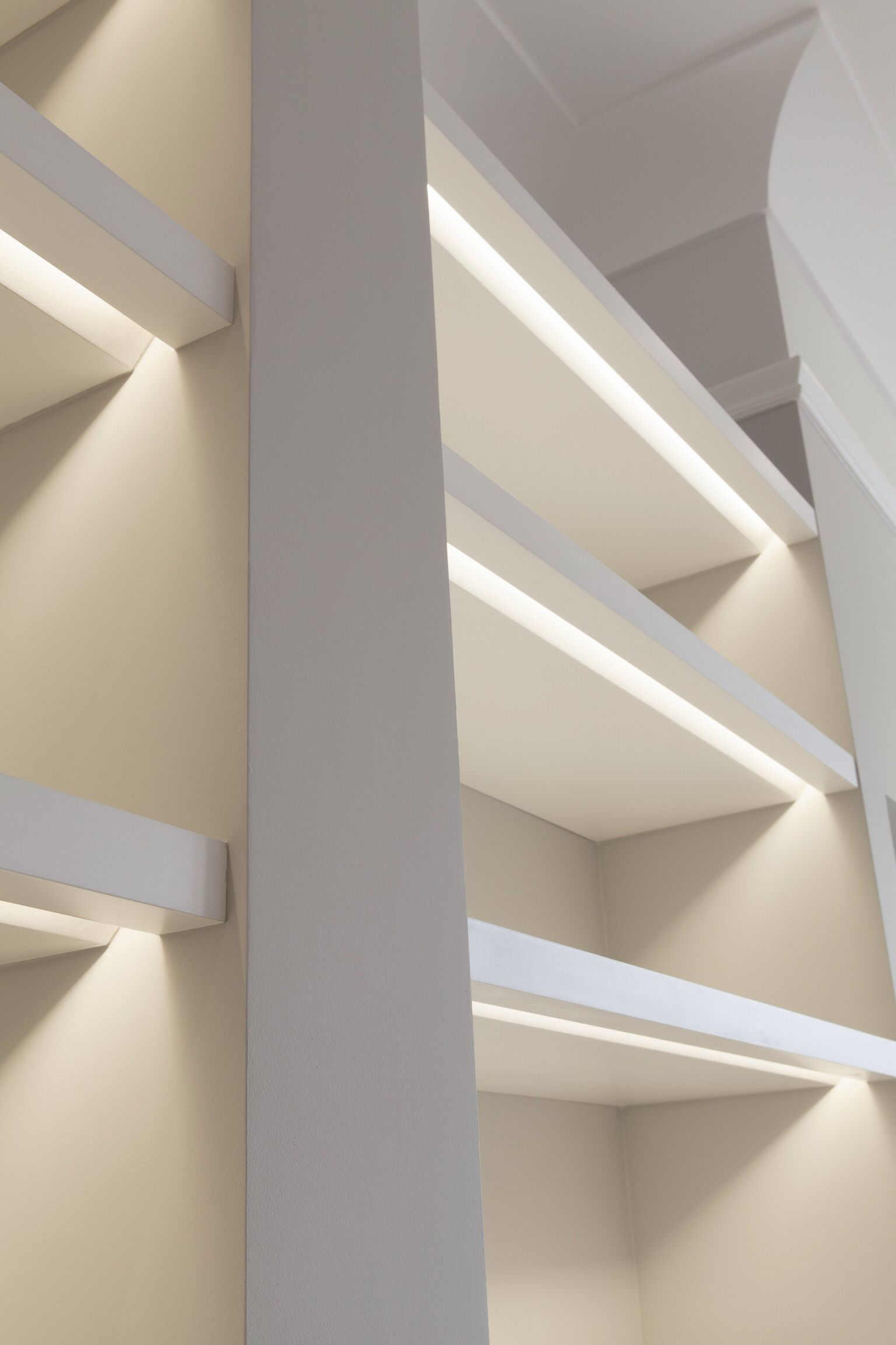 Shelves Lit With Recessed Lights Note The Bevel To Allow Light To