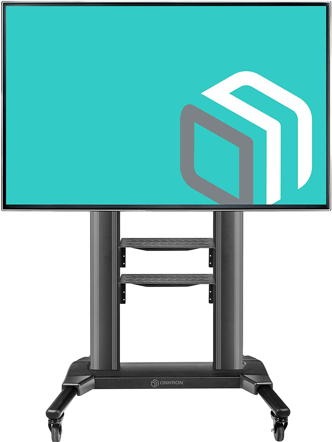 """Onkron Universal Mobile Tv Stand With Shelves Tv Cart On Wheels For 40"""" –  75 Inch Flat Panel Curved Lcd Led Oled Screens Up To 100 Lbs Ts27-71"""