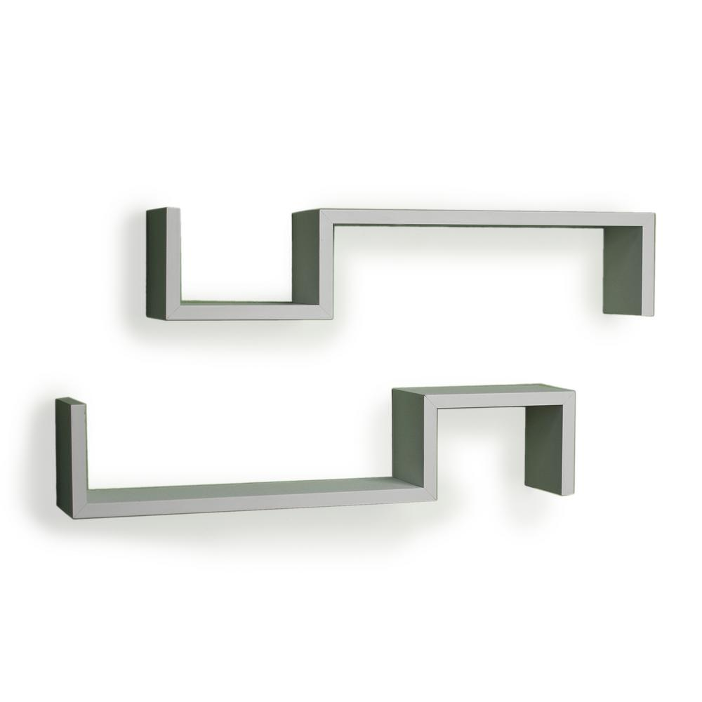 """225 In X 5 In Black Laminated """"s"""" Wall Mount Shelves (set Of 2)"""