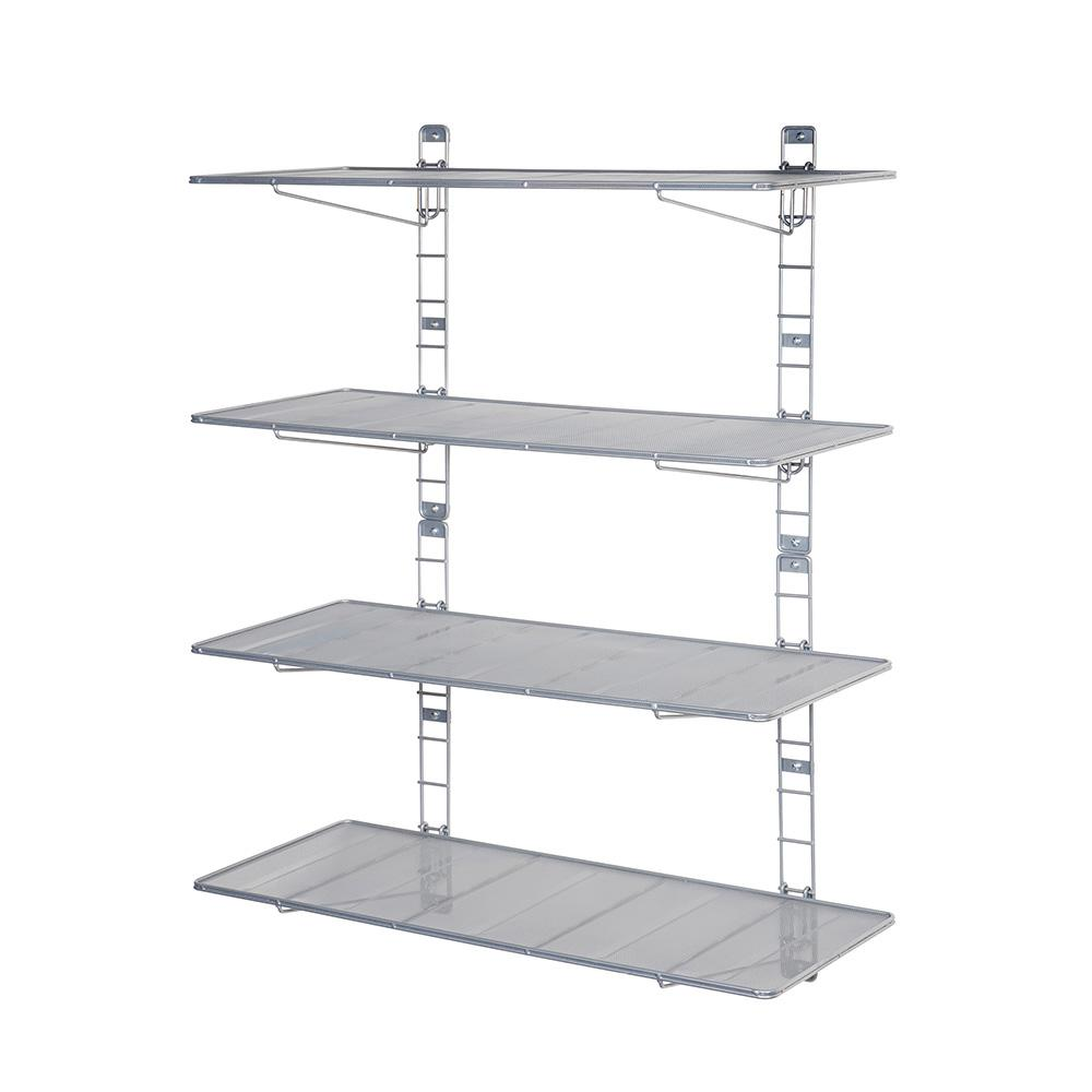 Seville Classics 36 In Steel Mesh Wall Mount Floating Shelves, 2 Pieces