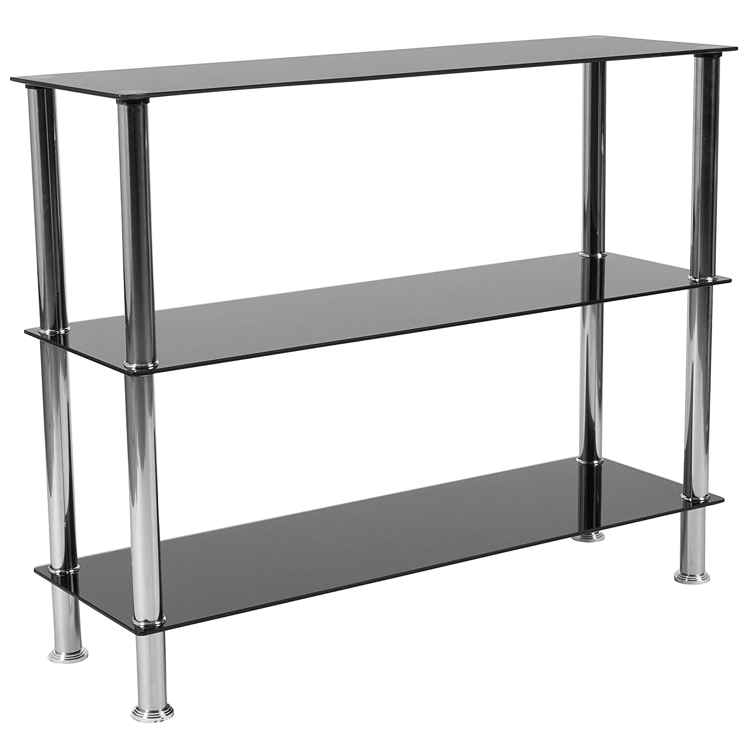 Flash Furniture Riverside Collection Black Glass Storage Shelves With  Stainless Steel Frame - Hg-112354-gg