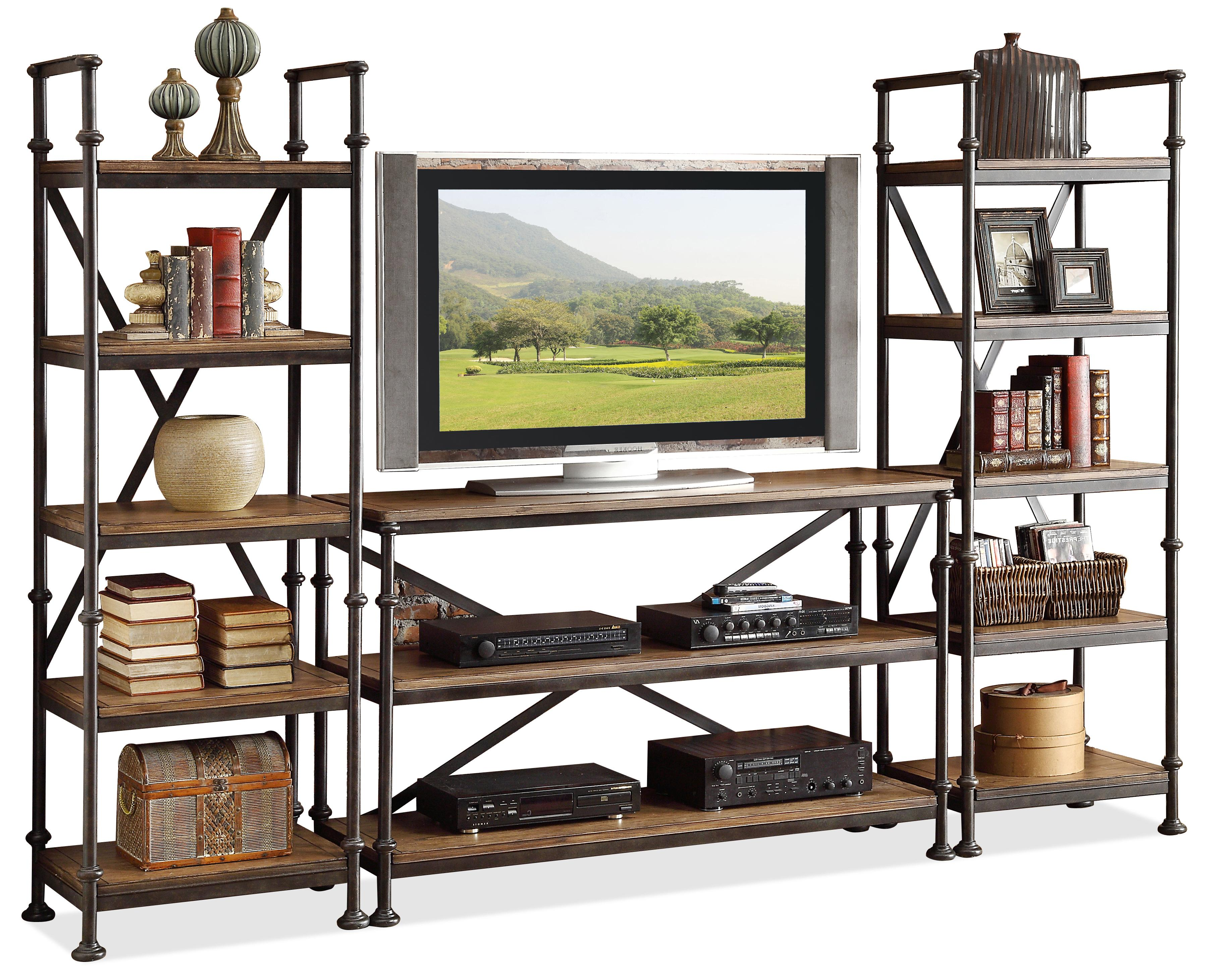 Camden Town Open Entertainment Wall Unit With 12 Shelves By Riverside  Furniture At Goffena Furniture & Mattress Center