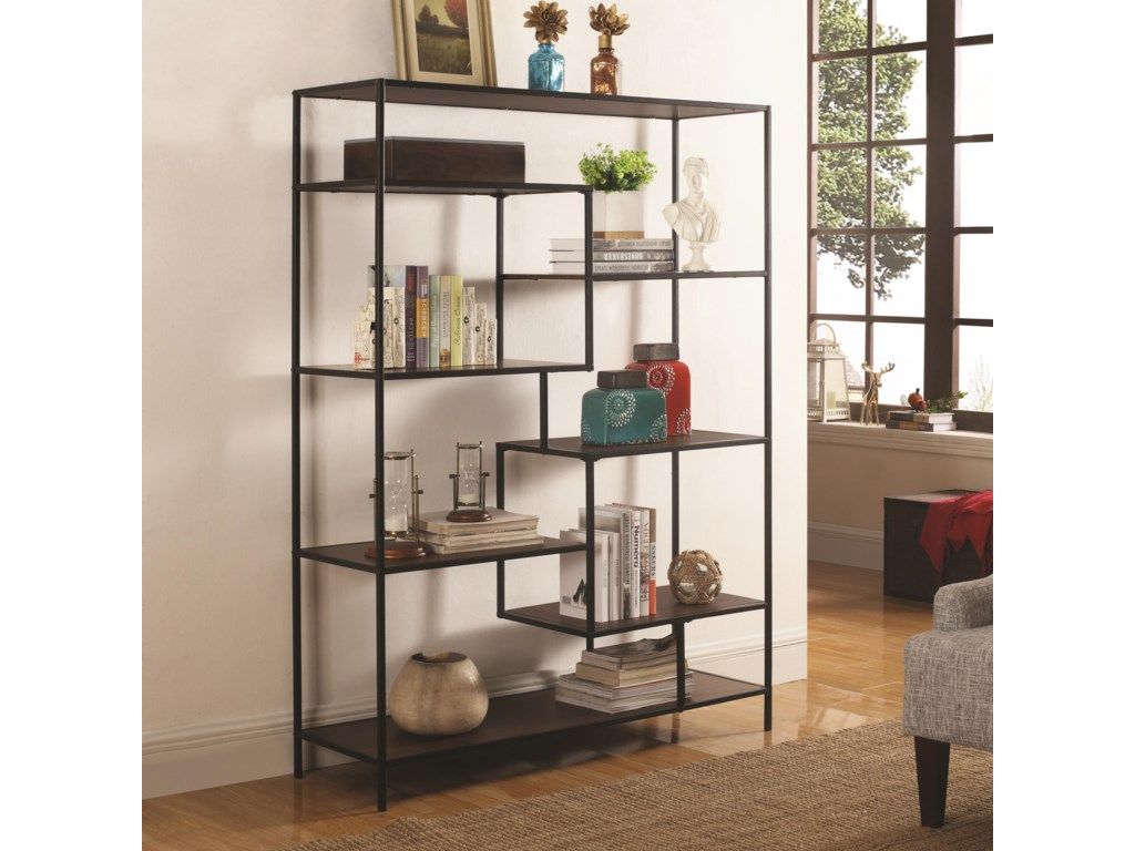 Bookcases Modern Bookcase With Offset Shelves By Coaster At Lapeer  Furniture & Mattress Center