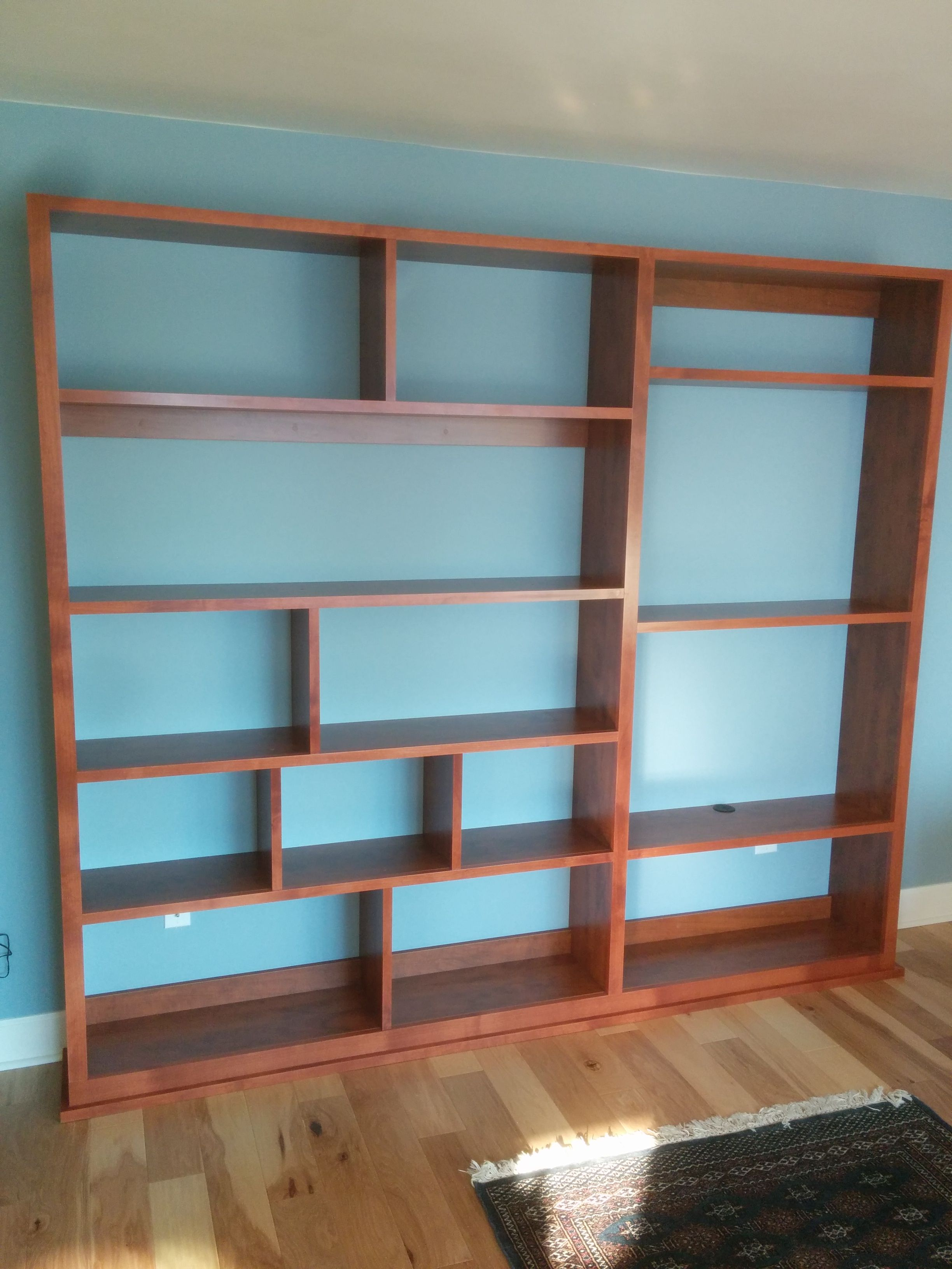 Offset Shelves For A Bookshelf, Display And Tv Stand Trimmed Out