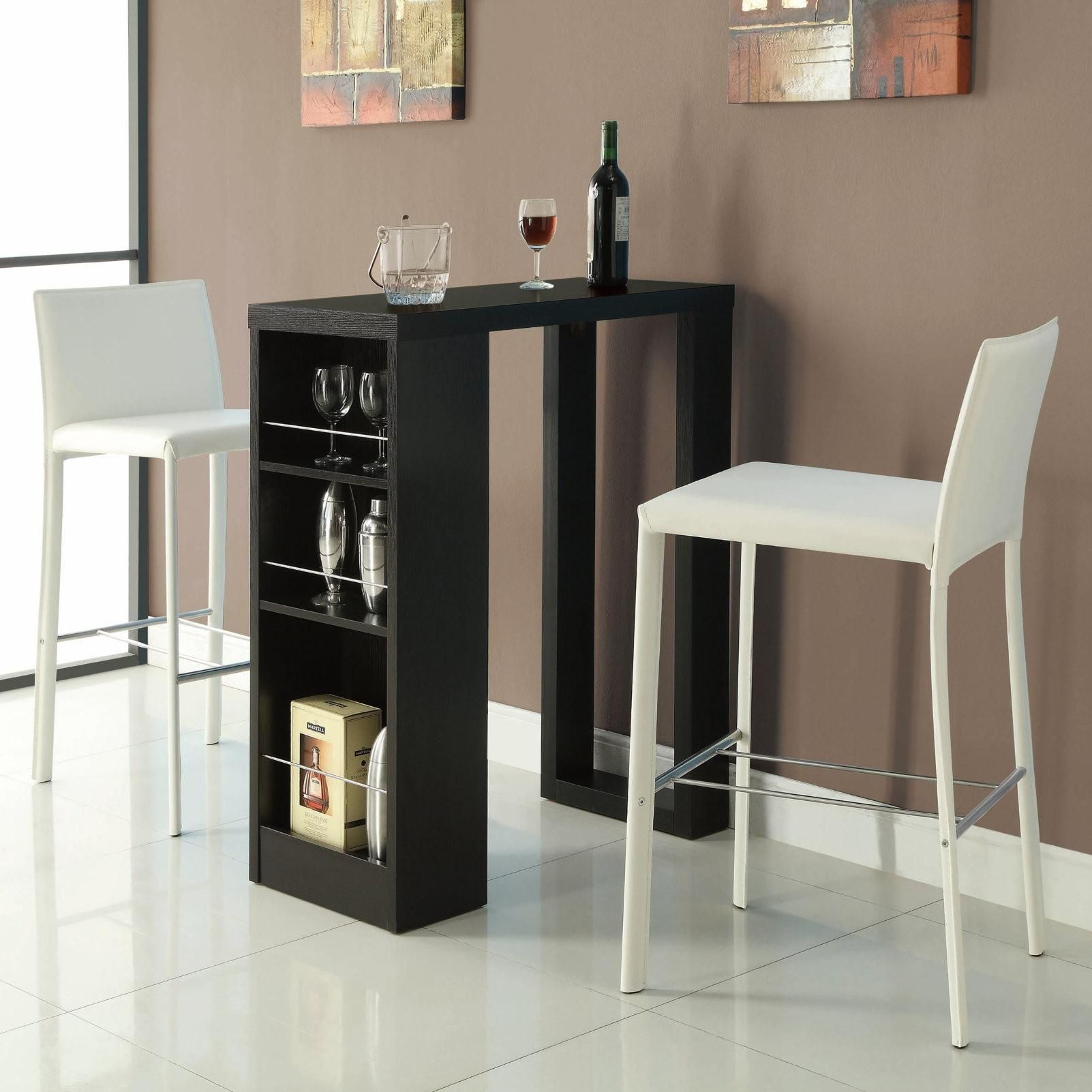 Bar Units And Bar Tables Small Bar Table With Storage Shelves By