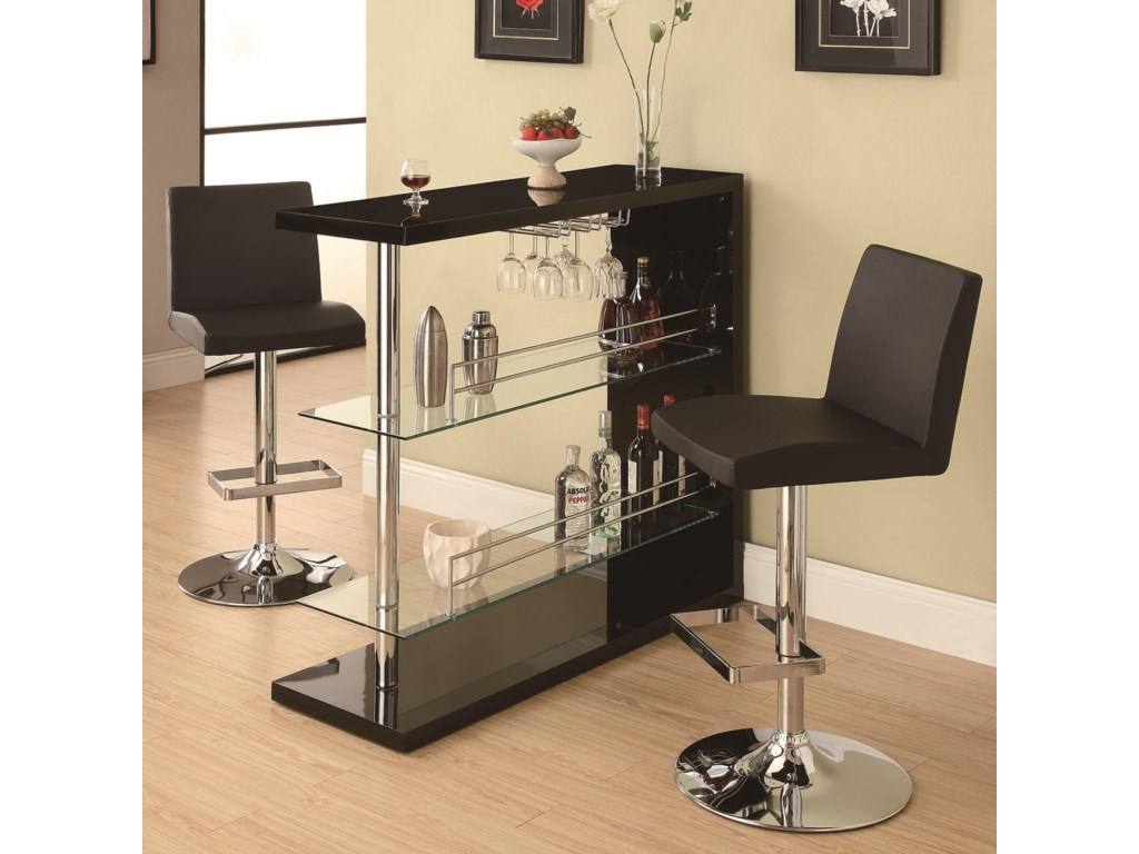 Bar Units And Bar Tables Rectangular Bar Unit With 2 Shelves And Wine  Holder By Coaster At Rotmans