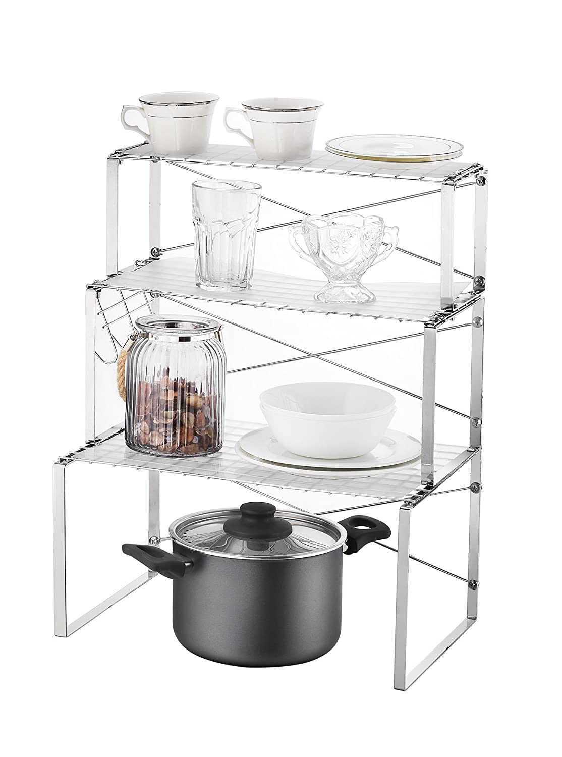 Multi-use 3 Tier Kitchen Cabinet And Counter Shelves Storage Organizer Rack  With Hooks And Shelf Liner (silver)
