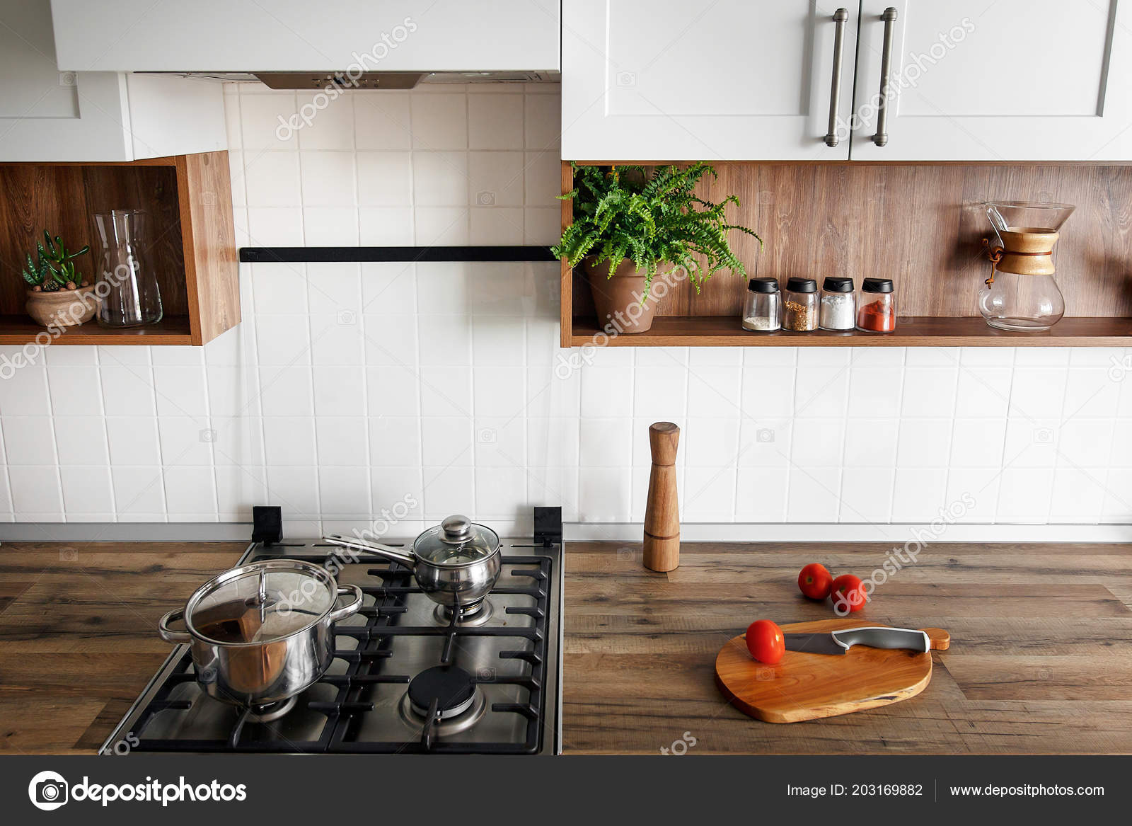 Wooden Board Knife Tomatoes Modern Kitchen Countertop Shelves Spices