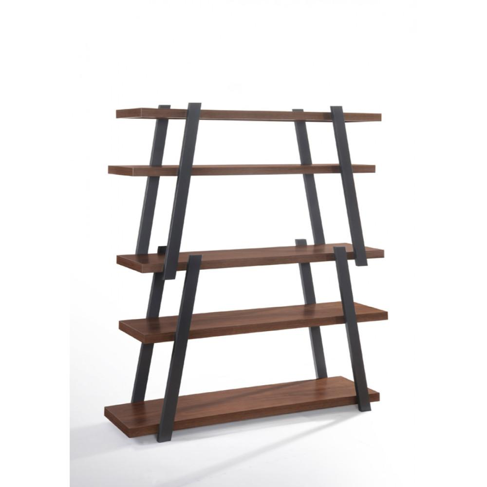 Wooden Bookshelf With Five Shelves, Brown And Gray