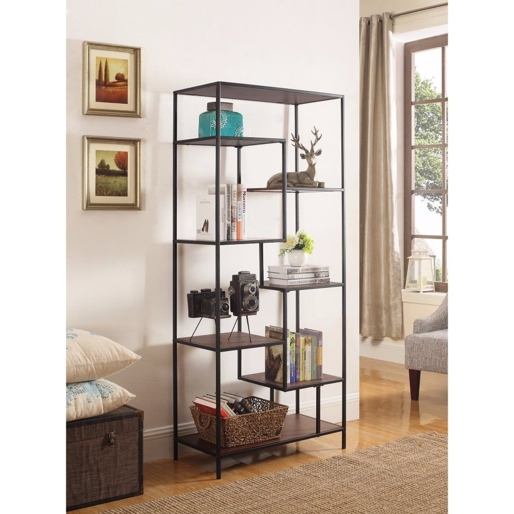 Benzara Metal Framed Bookcase With Open Shelves, Black And Brown