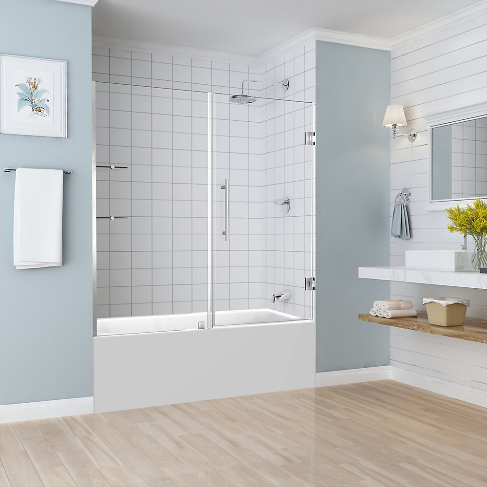 Belmore Gs 5925 - 6025 X 60 Inch Frameless Hinged Tub Door With Glass  Shelves In Stainless Steel