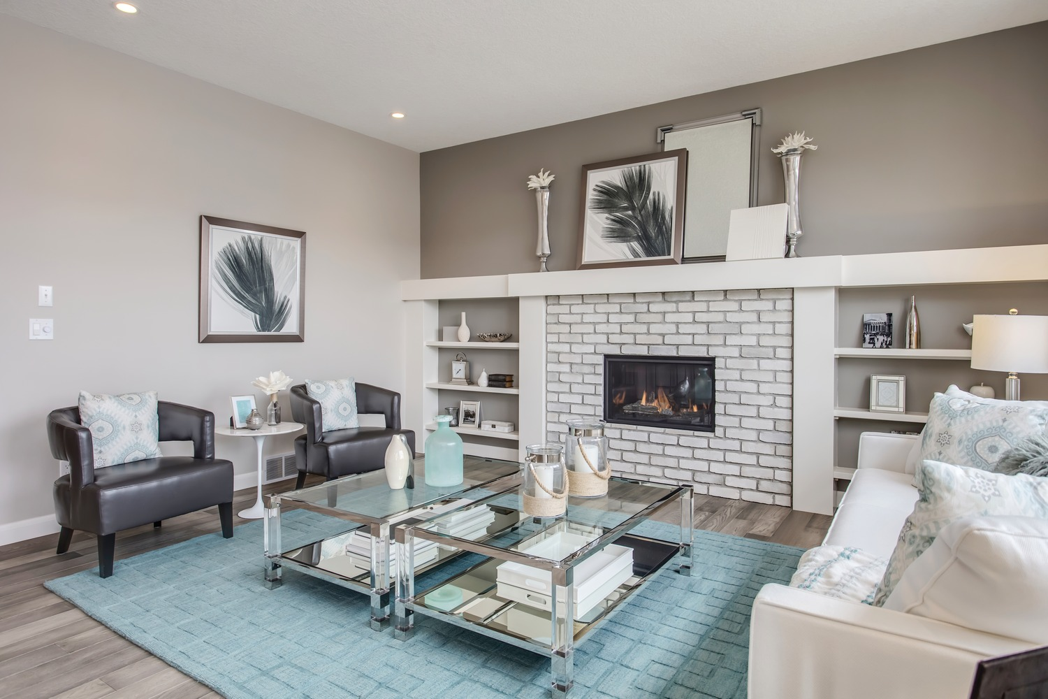 White Brick Fireplace With Shelves - Ecostone Products