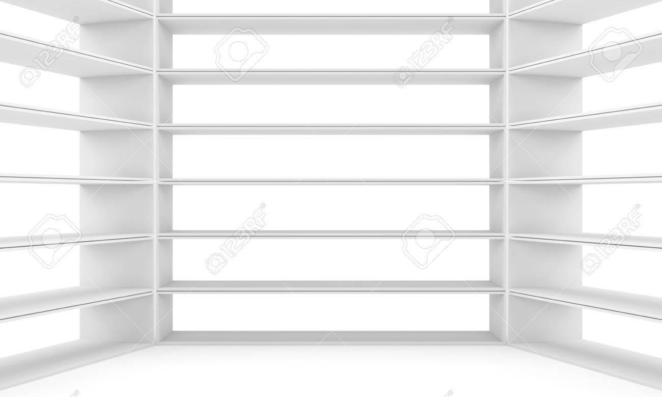 Empty Shelves, Blank Bookcase Library White Background 3d Rendering