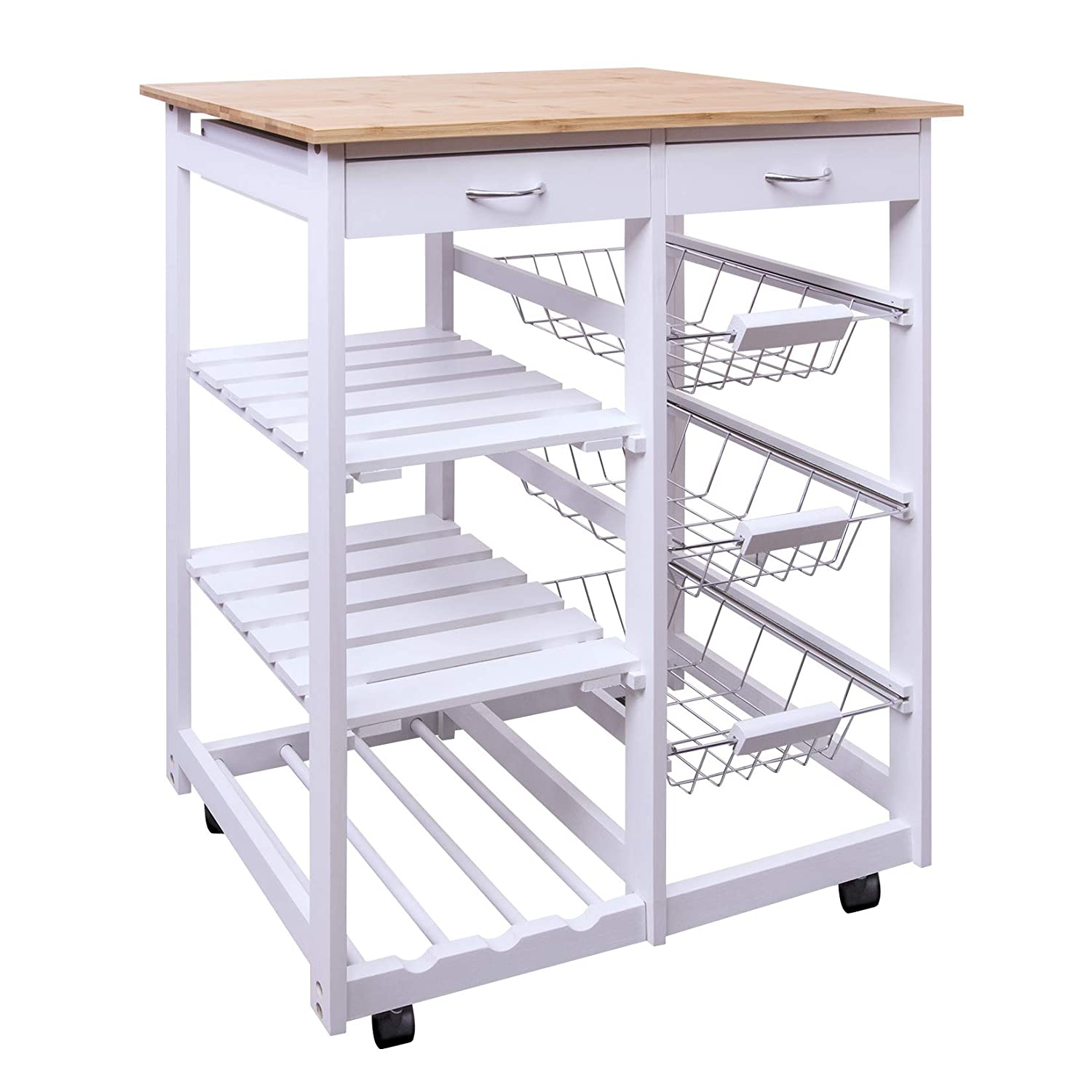 Woodluv Kitchen Trolley Cart Islands Storage Rack With Wine Rack, Shelves,  Wire Baskets And Dual Drawers