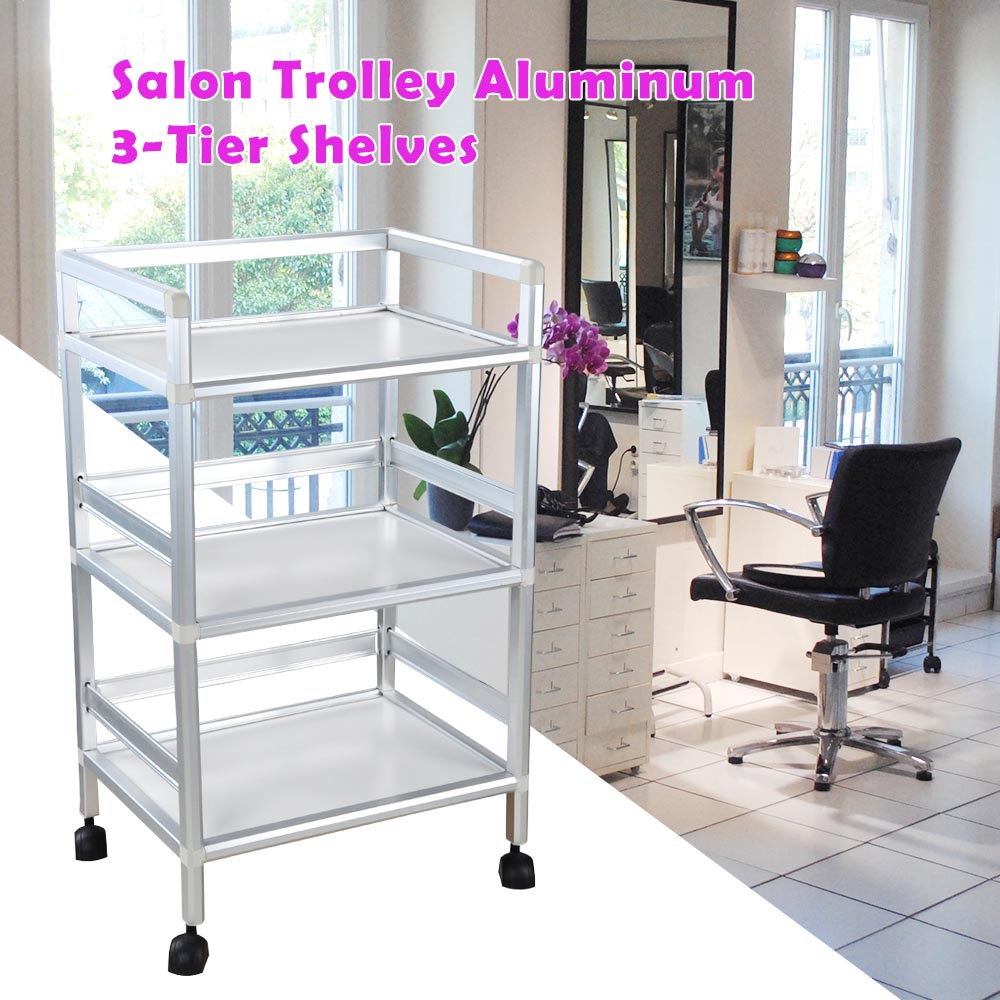 3-tier Shelves Rolling Salon Trolley Cart Aluminum Hair Beauty Spa Storage  Equipment With Casters
